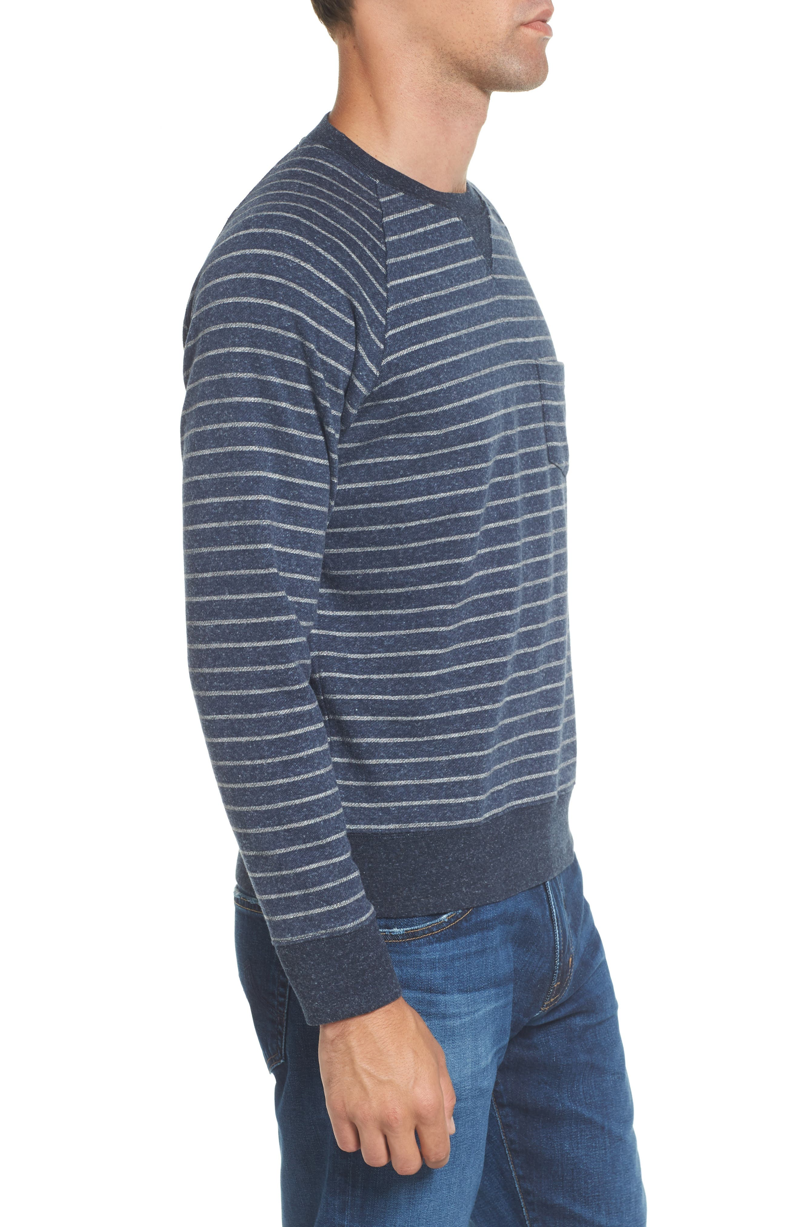 Palmer Modern Fit Athletic Stripe Sweatshirt,                             Alternate thumbnail 4, color,                             Navy/ Gray Heather