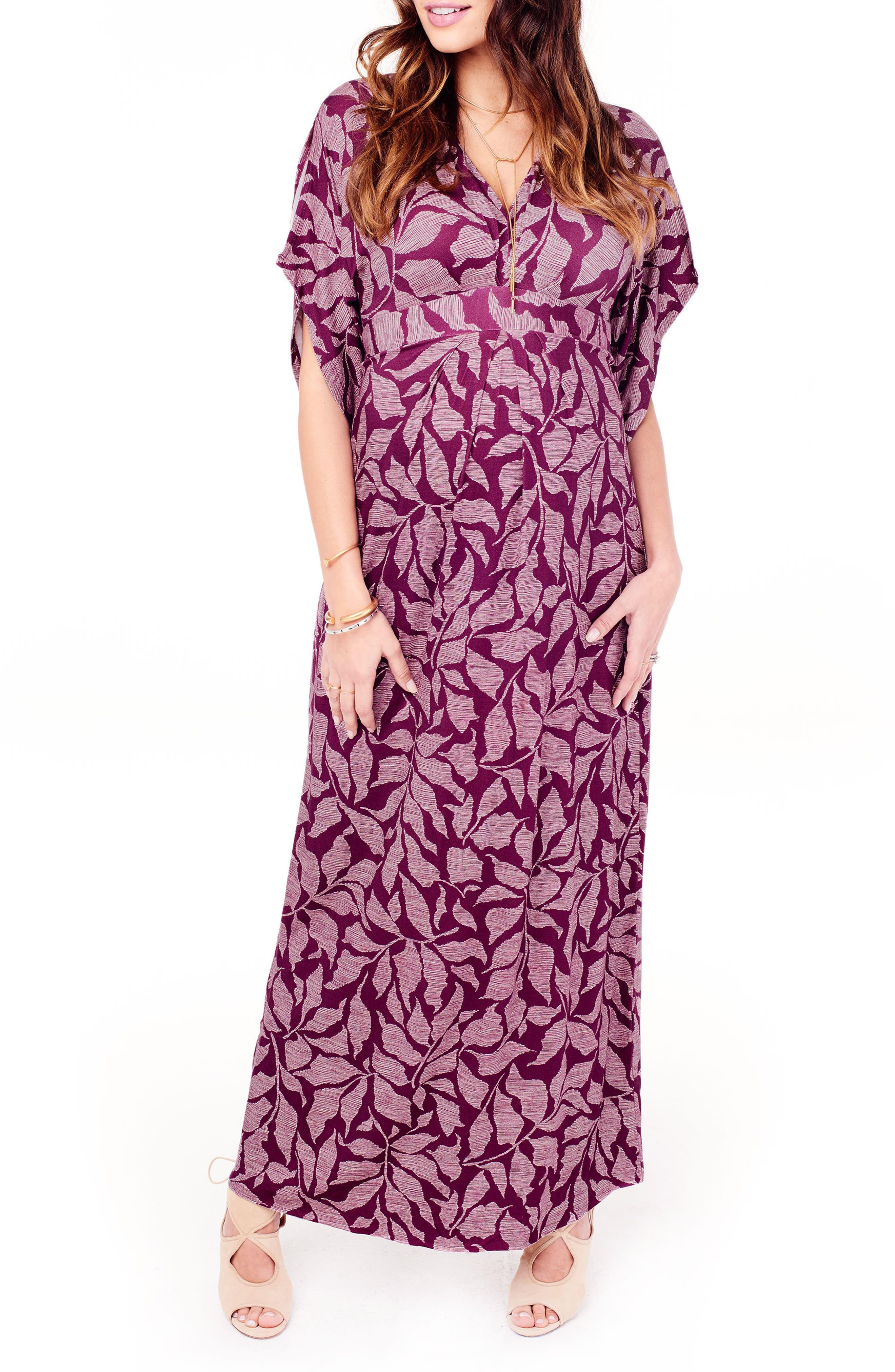 Ingrid & Isabel Split Kimono Sleeve Maternity Maxi Dress,                         Main,                         color, Plum Leaf Print