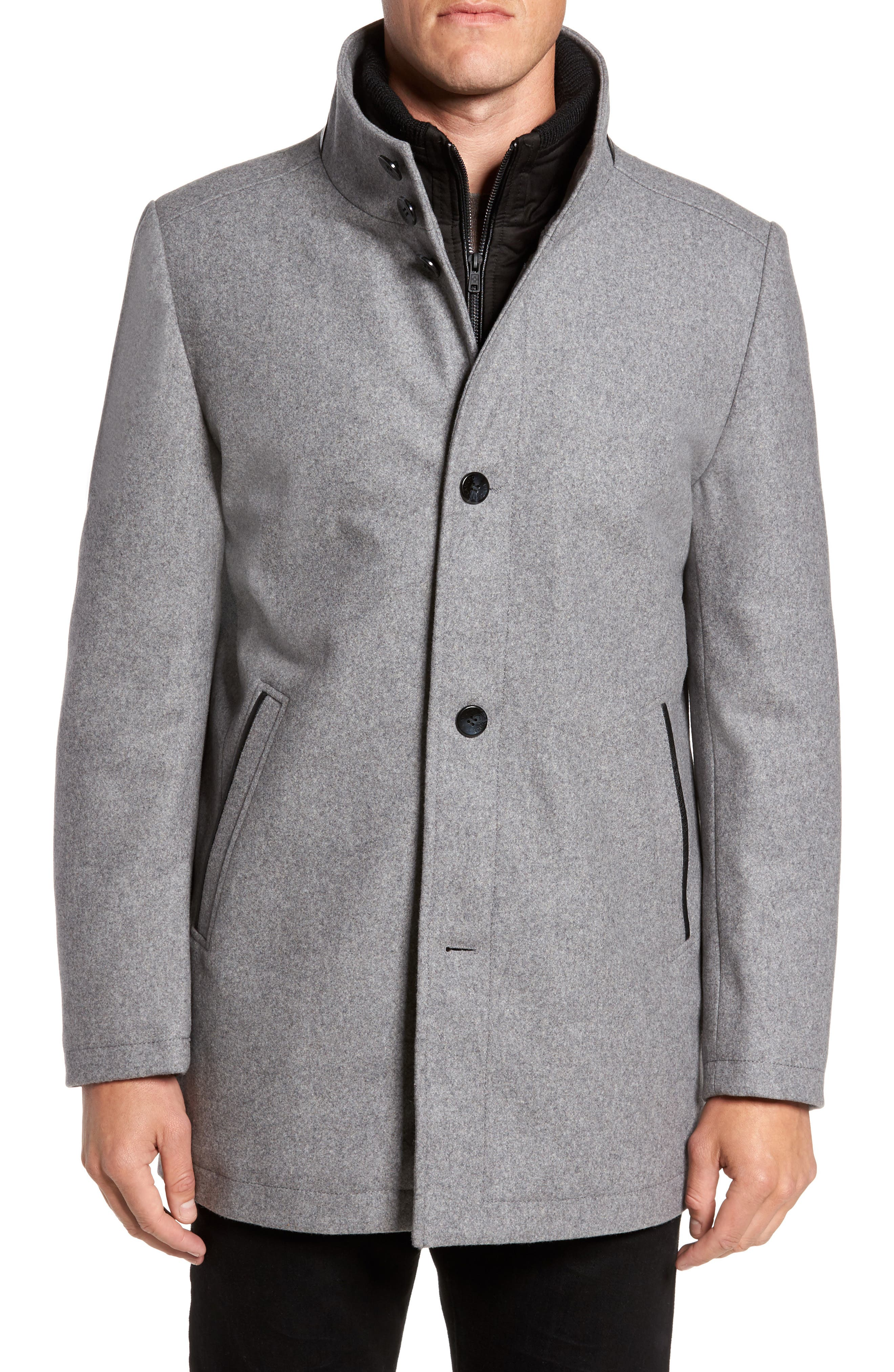 Alternate Image 4  - Vince Camuto Classic Wool Blend Car Coat with Inset Bib