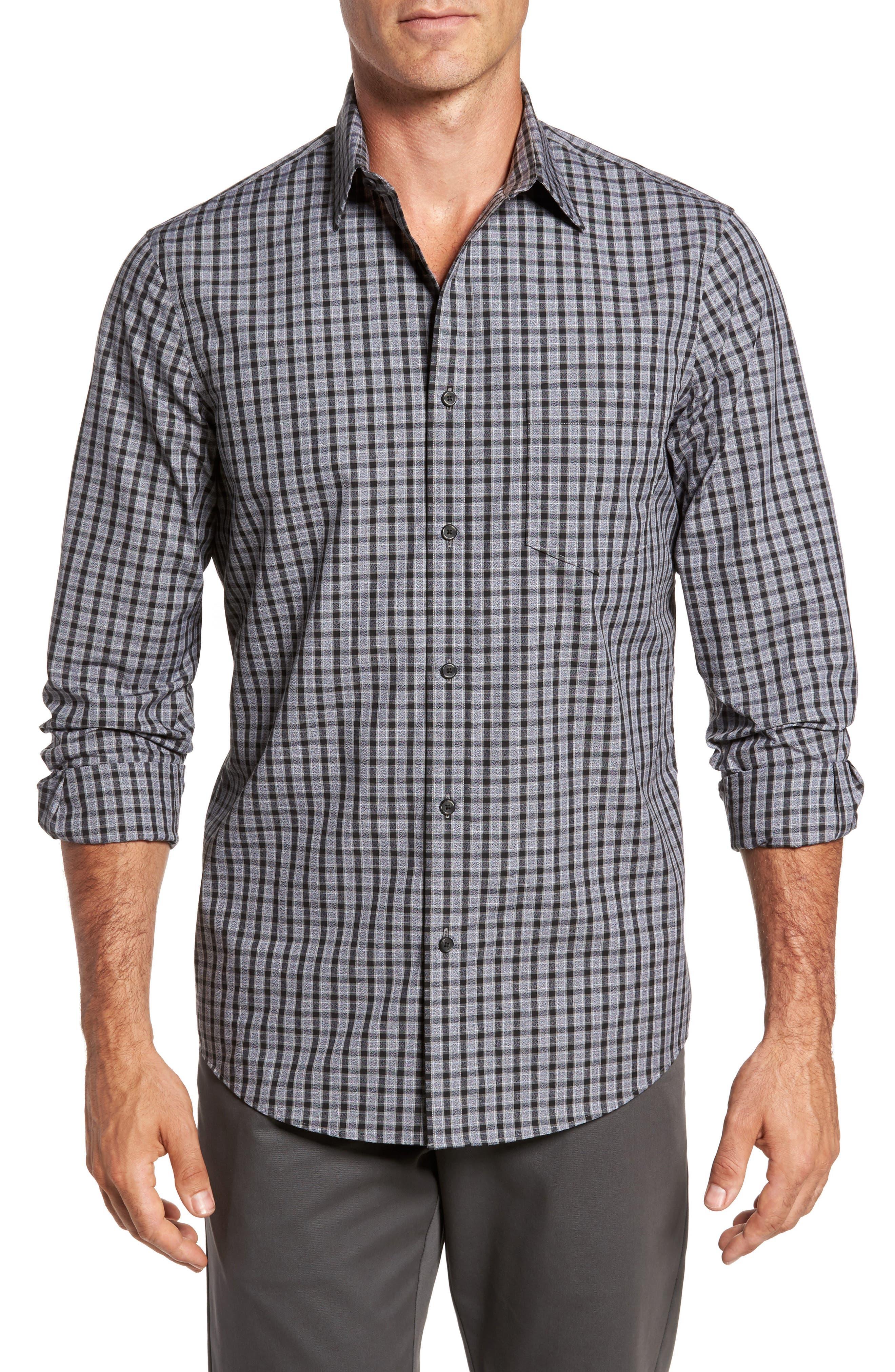 Regular Fit Non-Iron Check Sport Shirt,                         Main,                         color, Grey Shade Black Heather Check