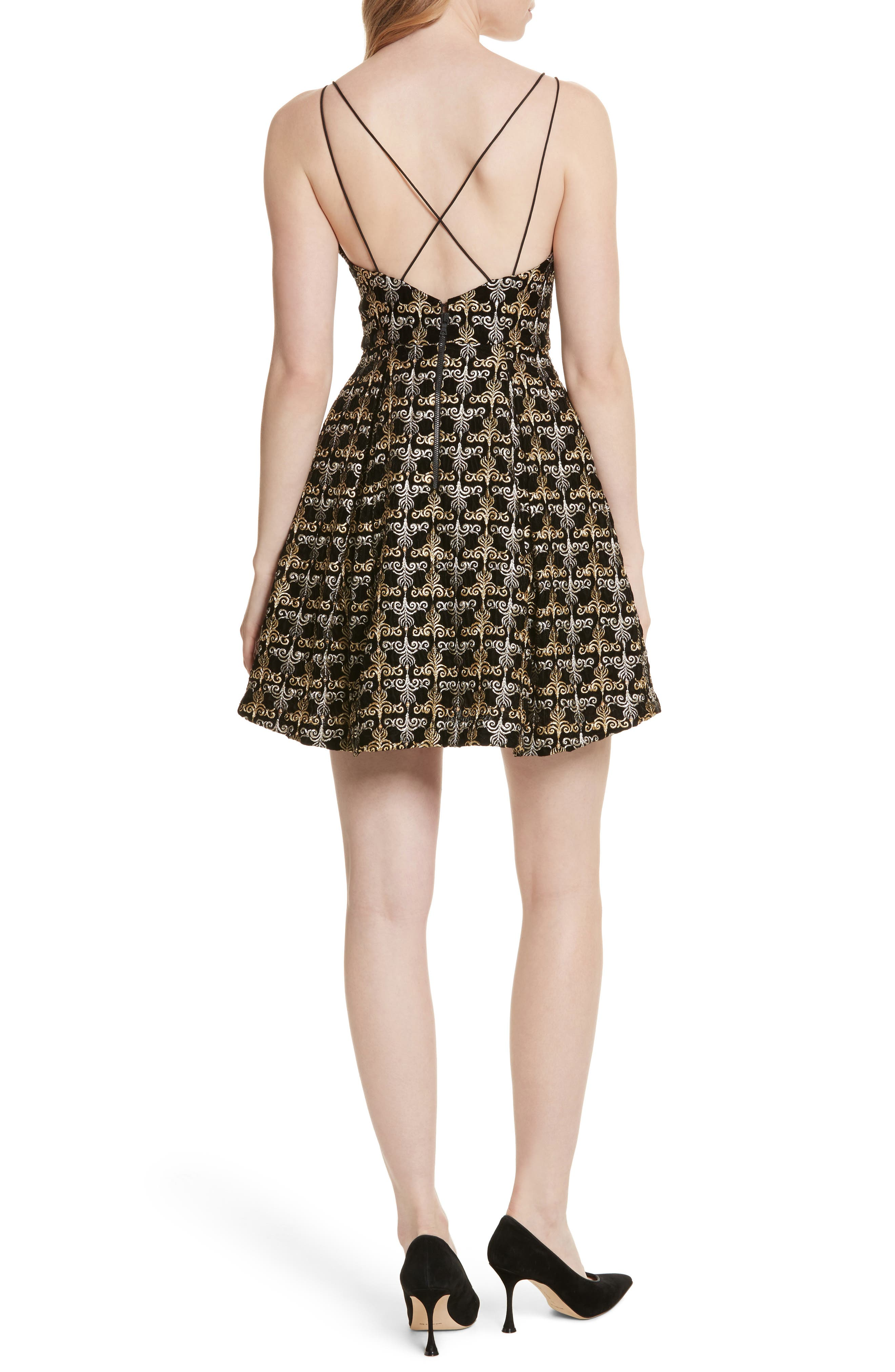 Alternate Image 2  - Alice + Olivia Marilla Embroidered Strappy Dress