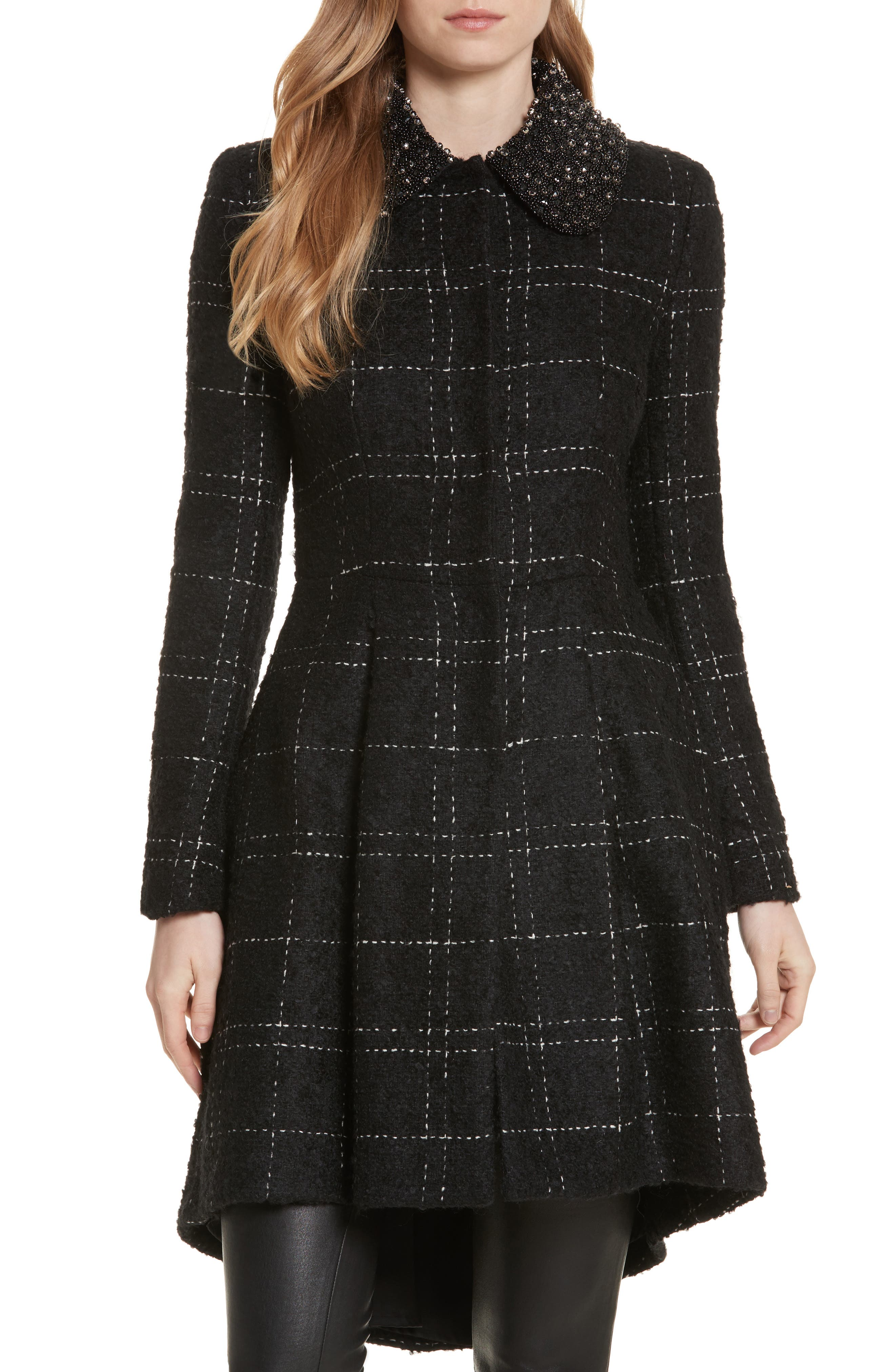 Alice + Olivia Marcia Embellished Peter Pan Collar Coat