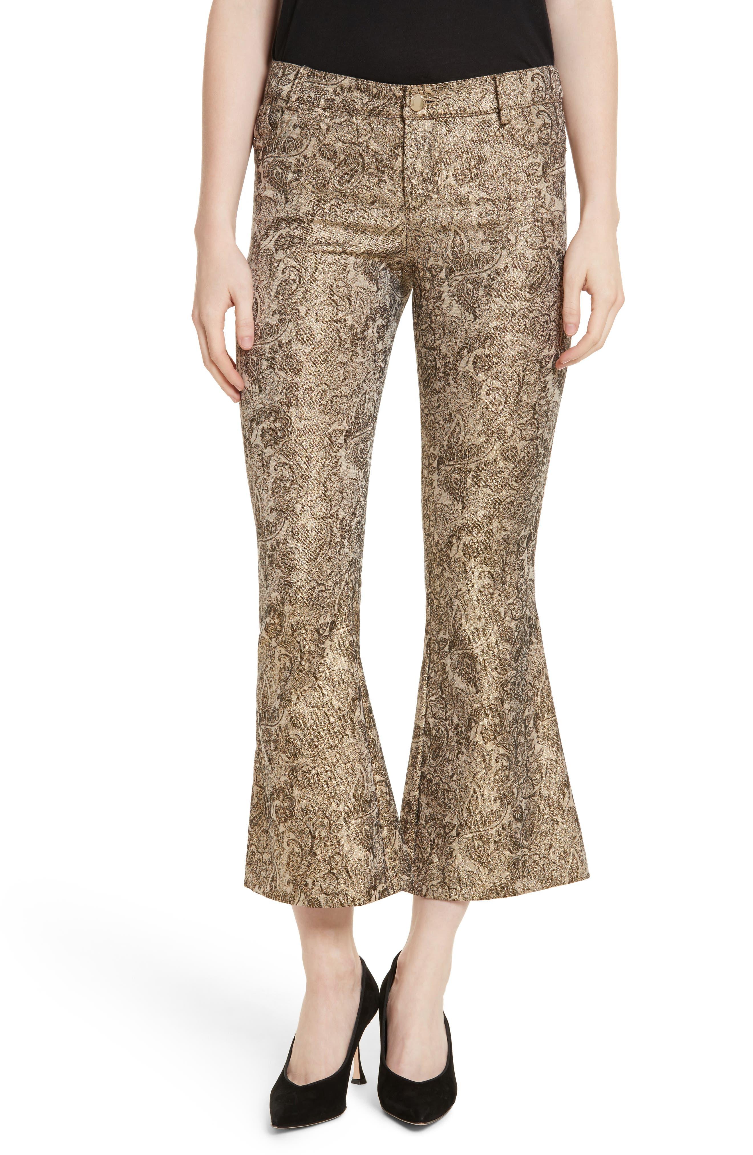 Main Image - Alice + Olivia Drew Metallic Crop Bell Pants