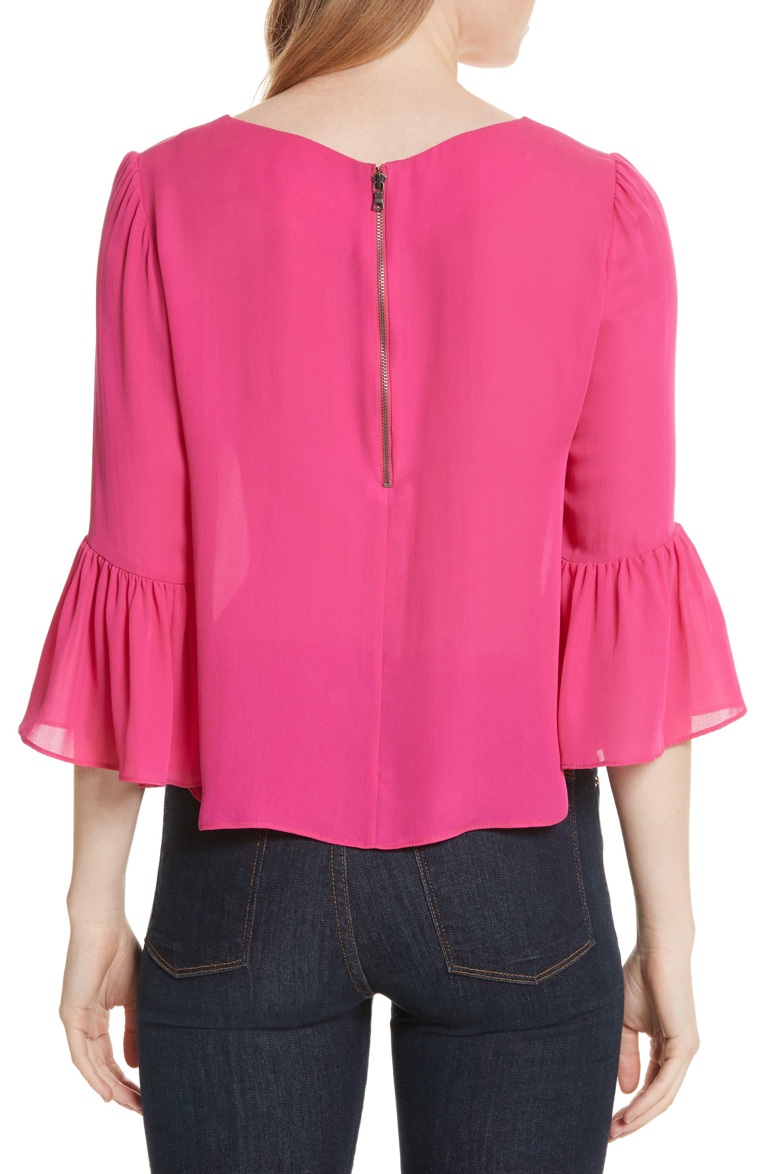 Alternate Image 2  - Alice + Olivia Bernice Ruffle Sleeve Silk Top