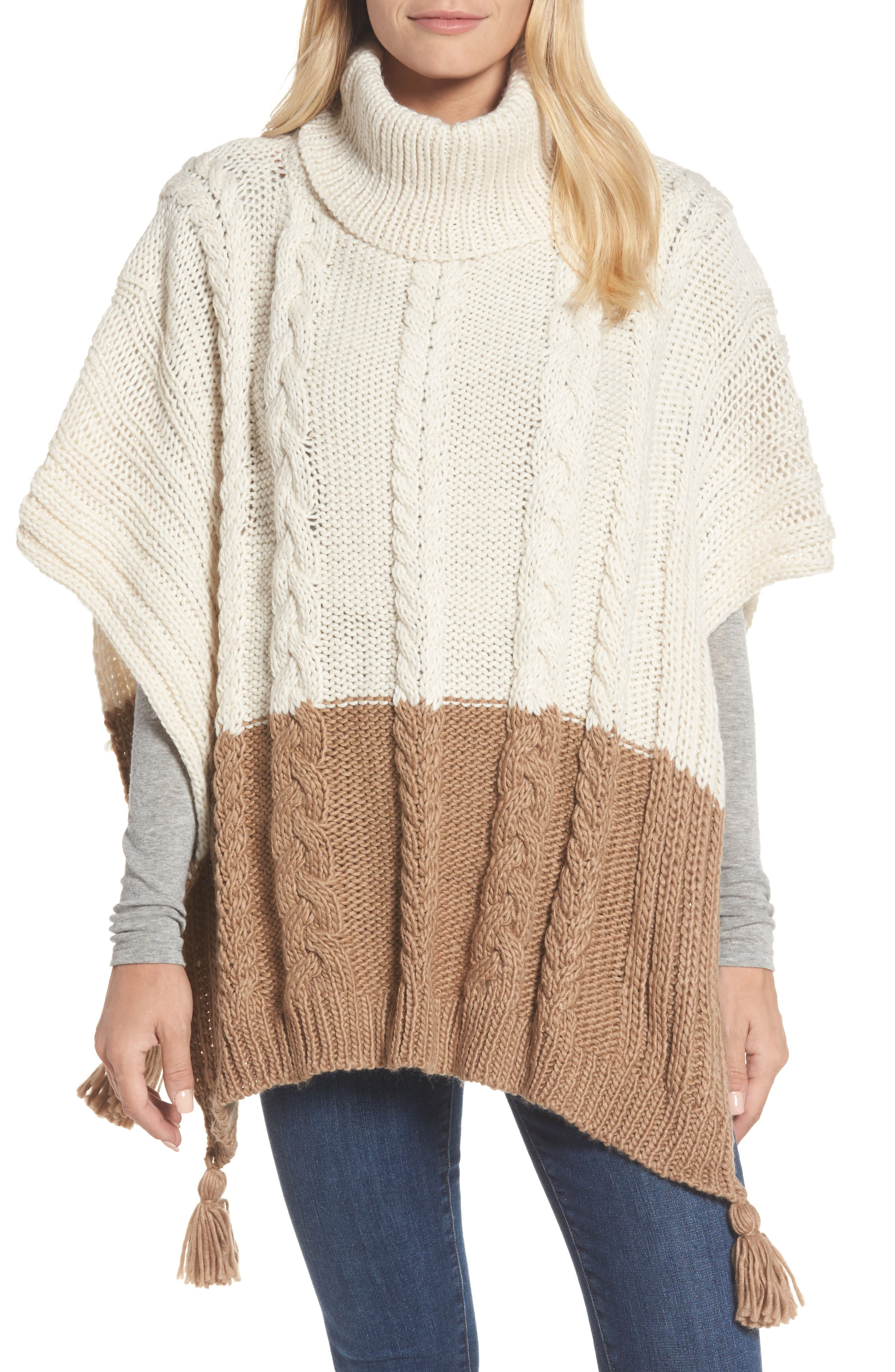 Alternate Image 1 Selected - BCBGMAXAZRIA Cable Knit Poncho