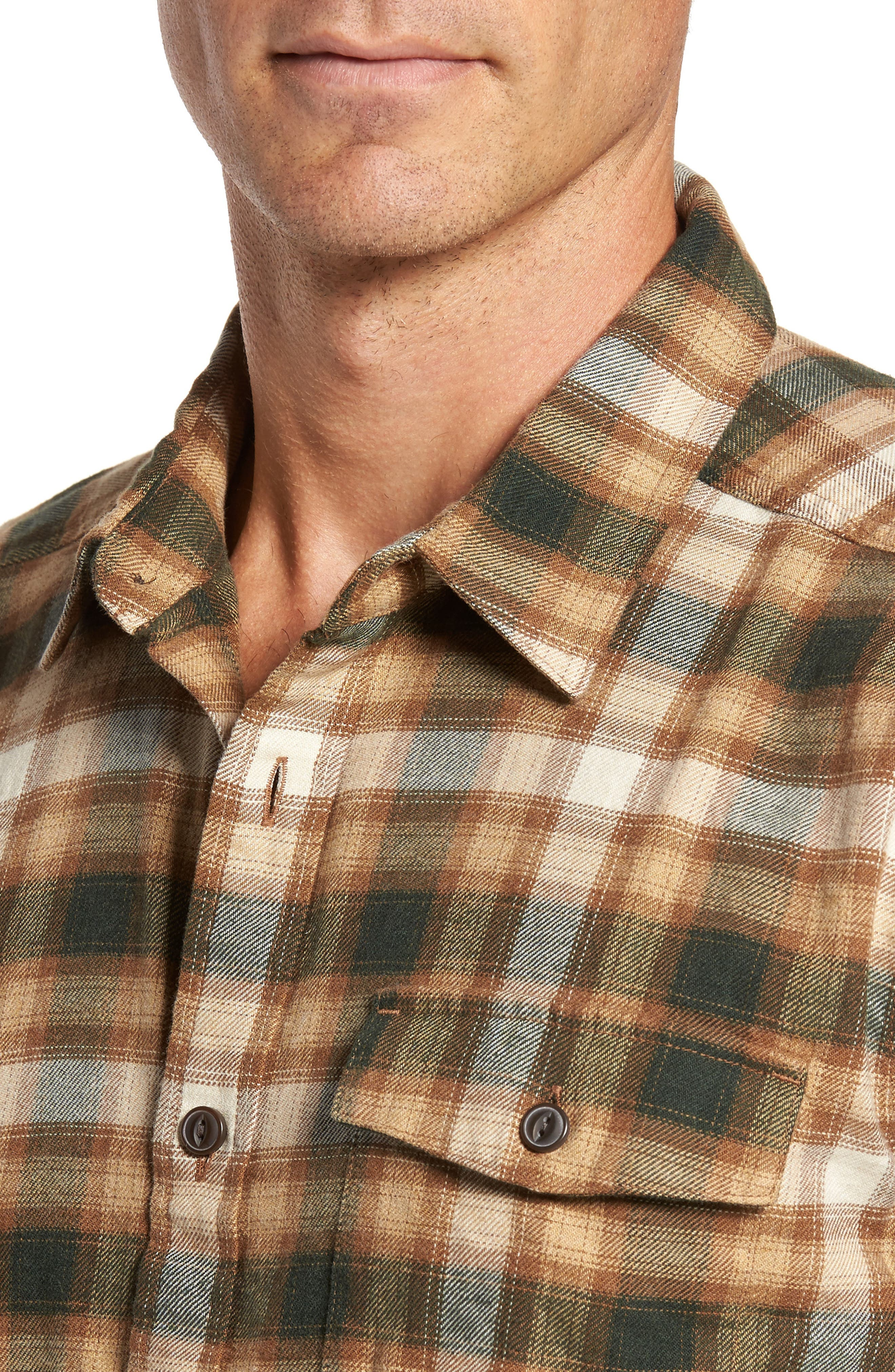 Regular Fit Organic Cotton Flannel Shirt,                             Alternate thumbnail 4, color,                             Revival Bear Brown