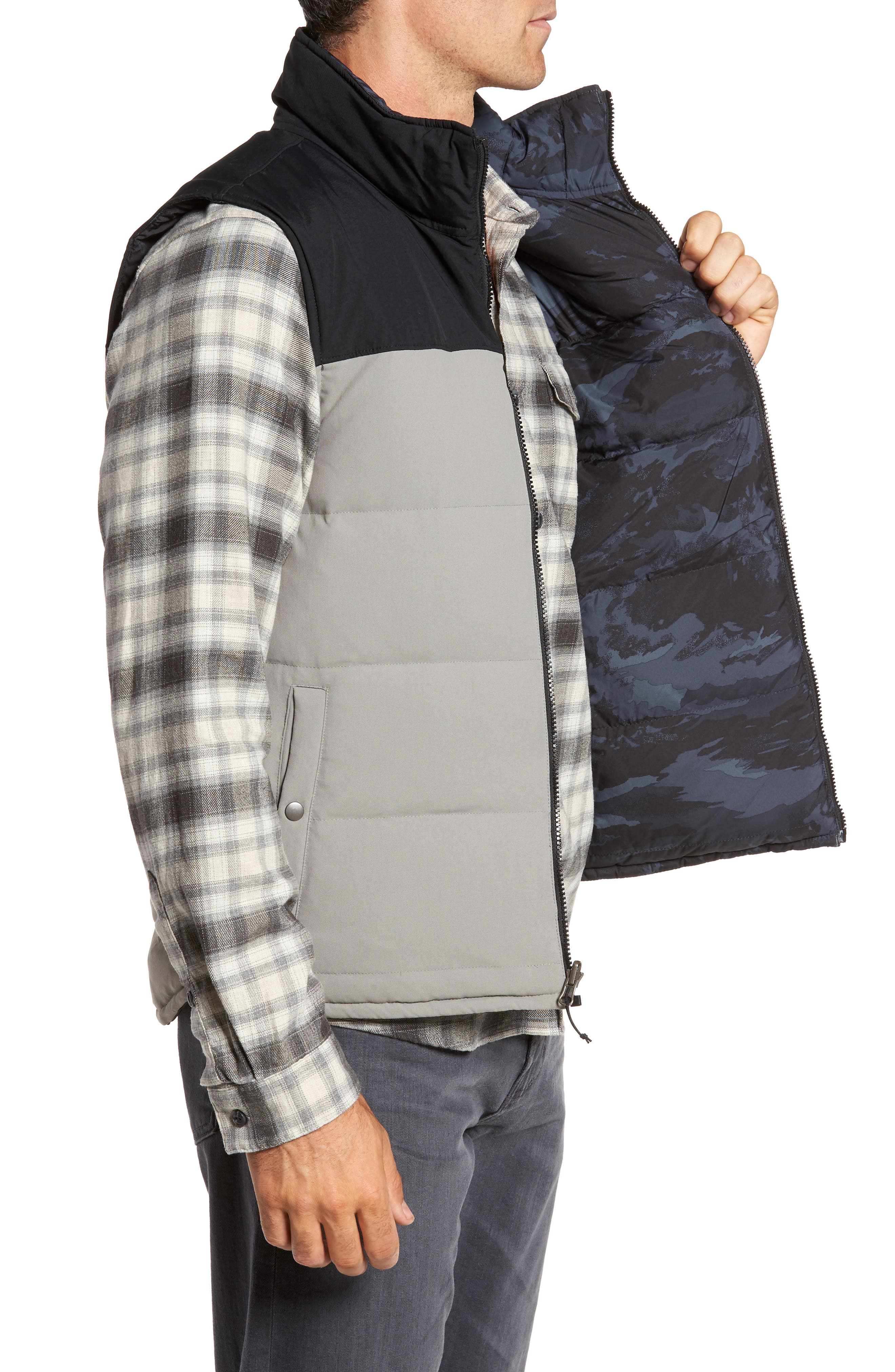 'Bivy' Reversible Down Fill Vest,                             Alternate thumbnail 4, color,                             Feather Grey