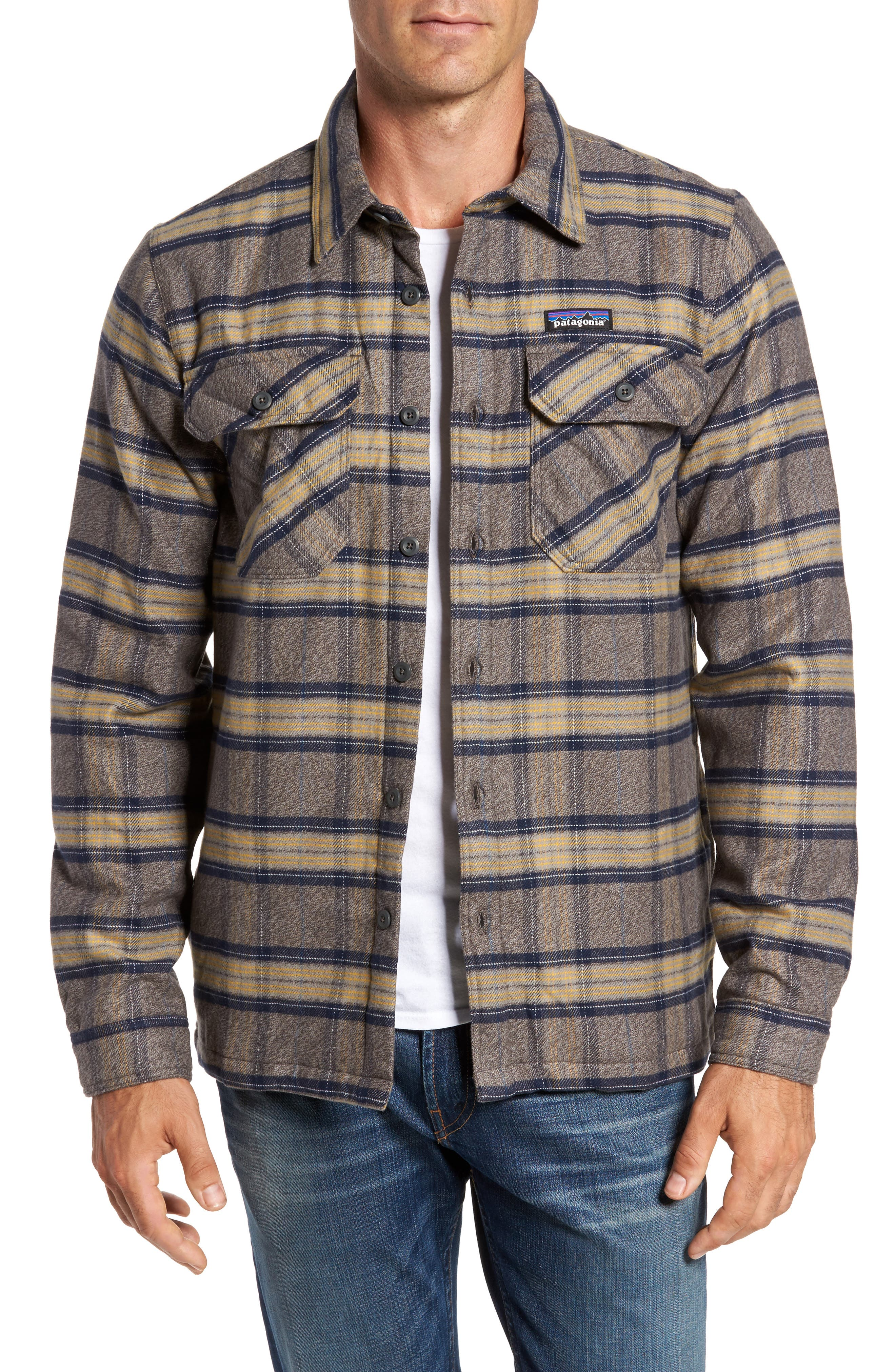 'Fjord' Flannel Shirt Jacket,                         Main,                         color, Migration Plaid Forge Grey