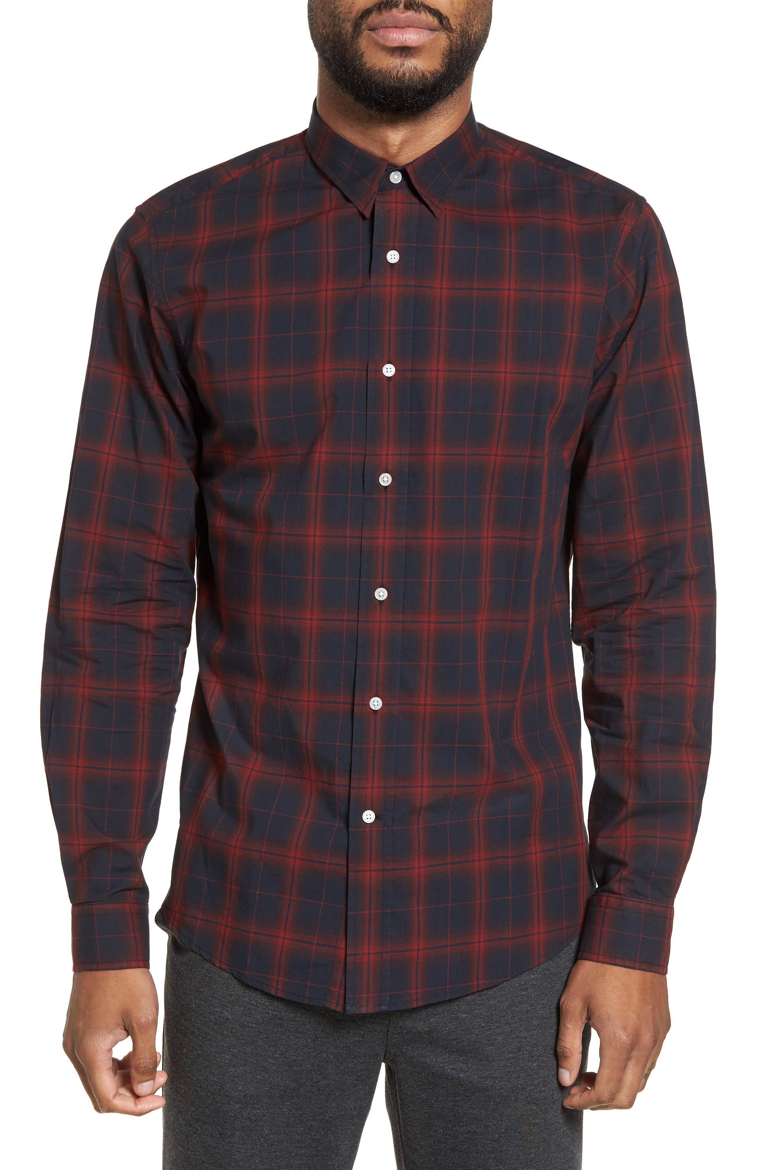 Trim Fit Windowpane Check Sport Shirt,                         Main,                         color, Black/ Red Plaid
