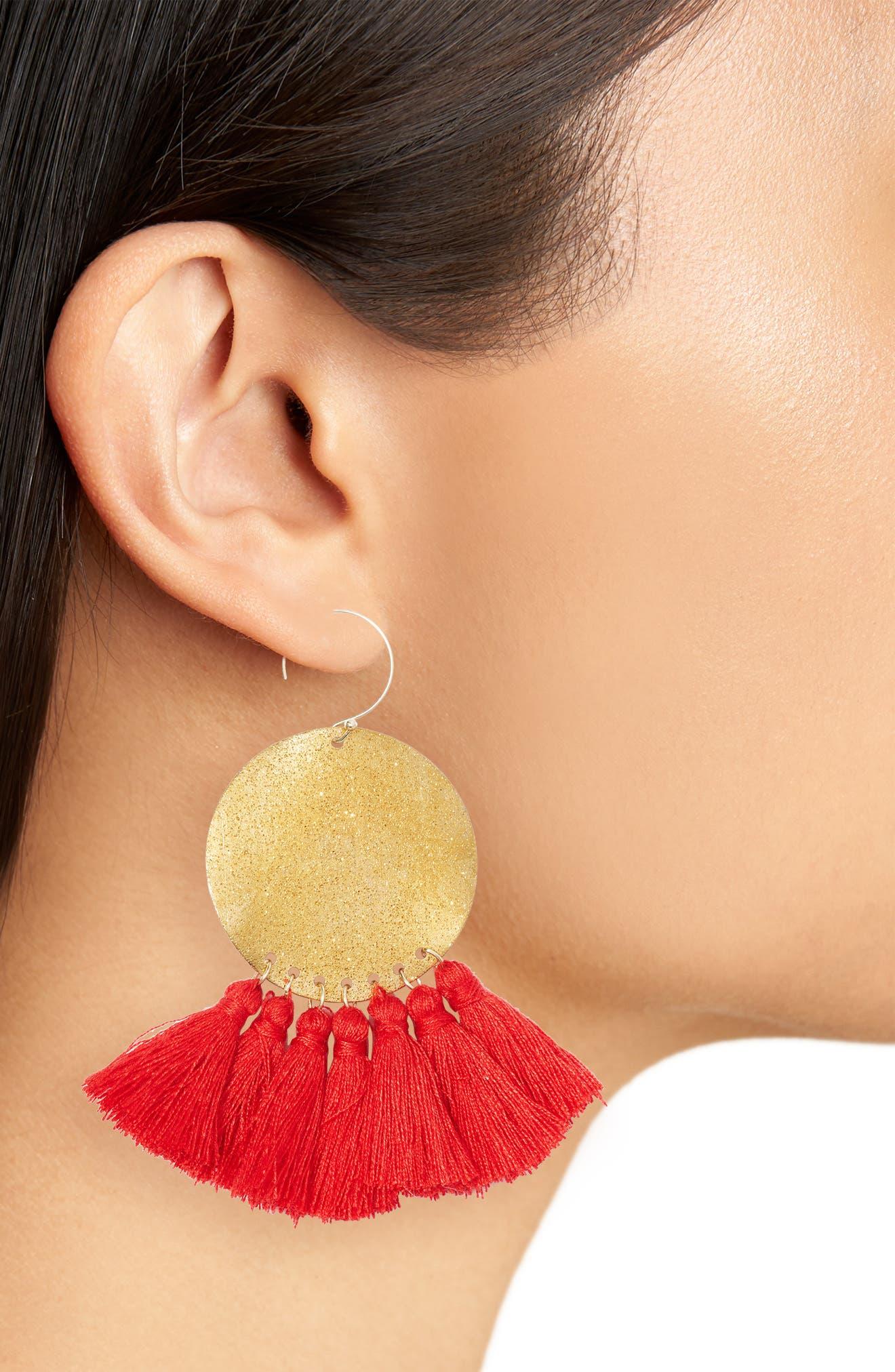 Lunar Tassel Earrings,                             Alternate thumbnail 2, color,                             Gold/ Red