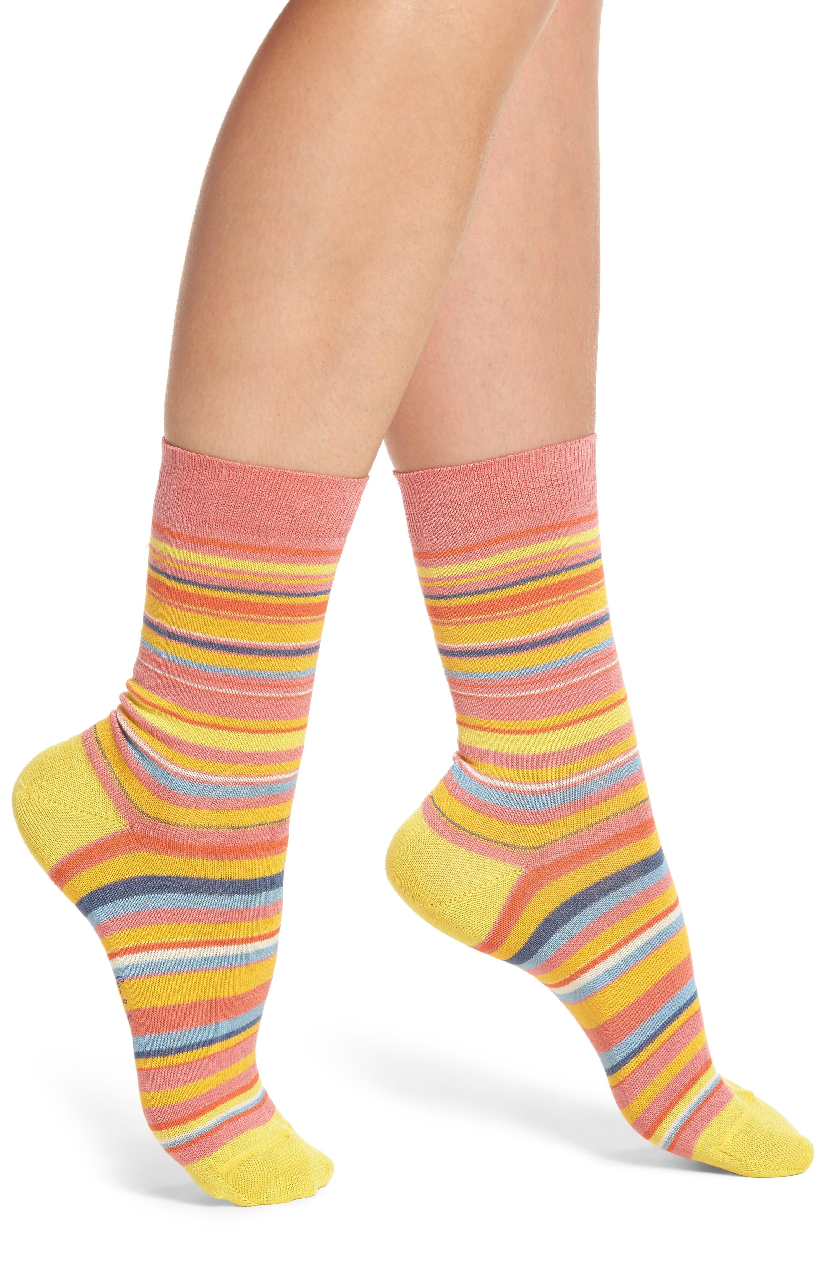 Fleur Crew Socks,                         Main,                         color, Pink/ Yellow