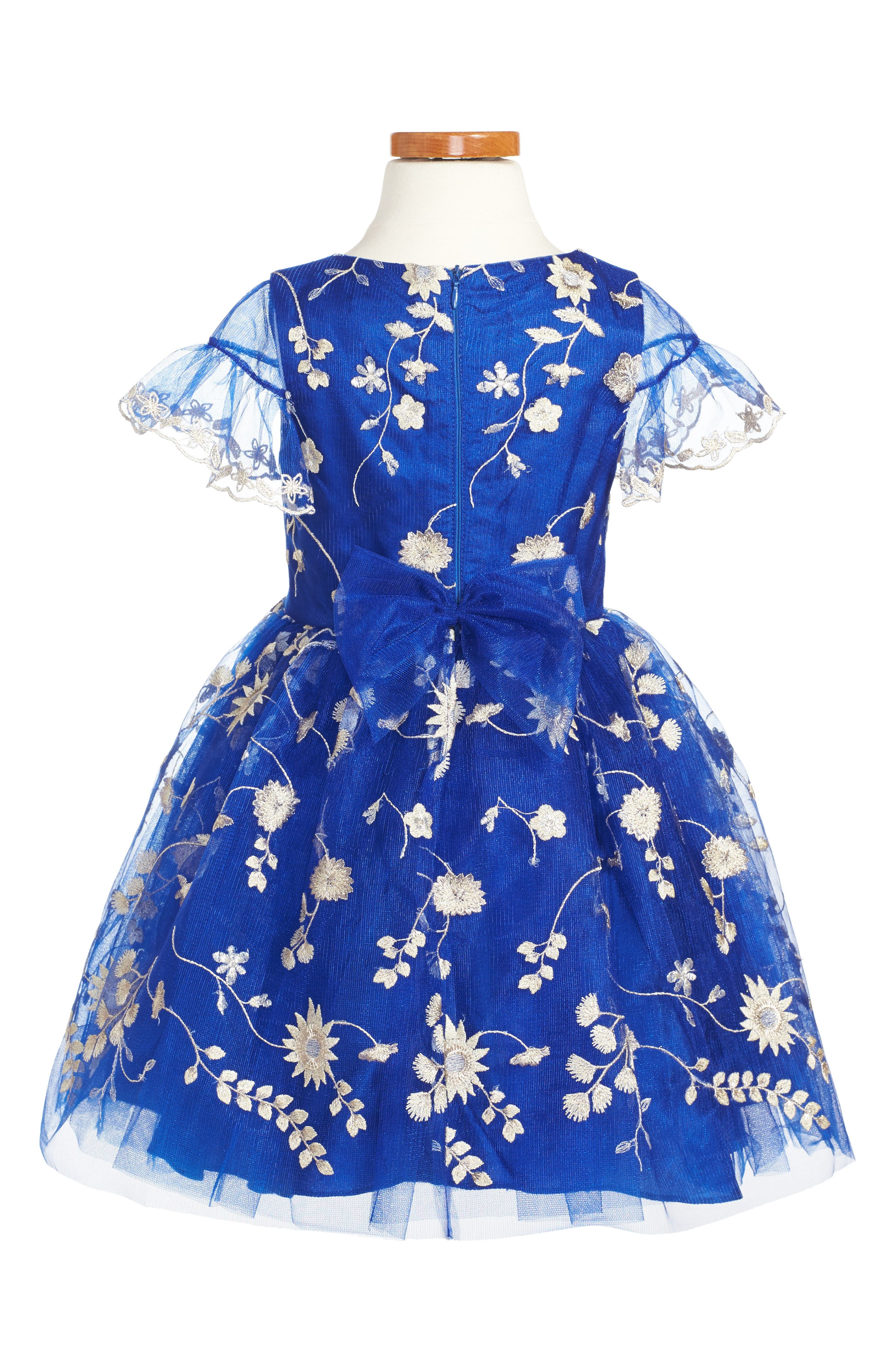 Floral Embroidery Dress,                             Alternate thumbnail 4, color,                             Royal Blue/ Gold