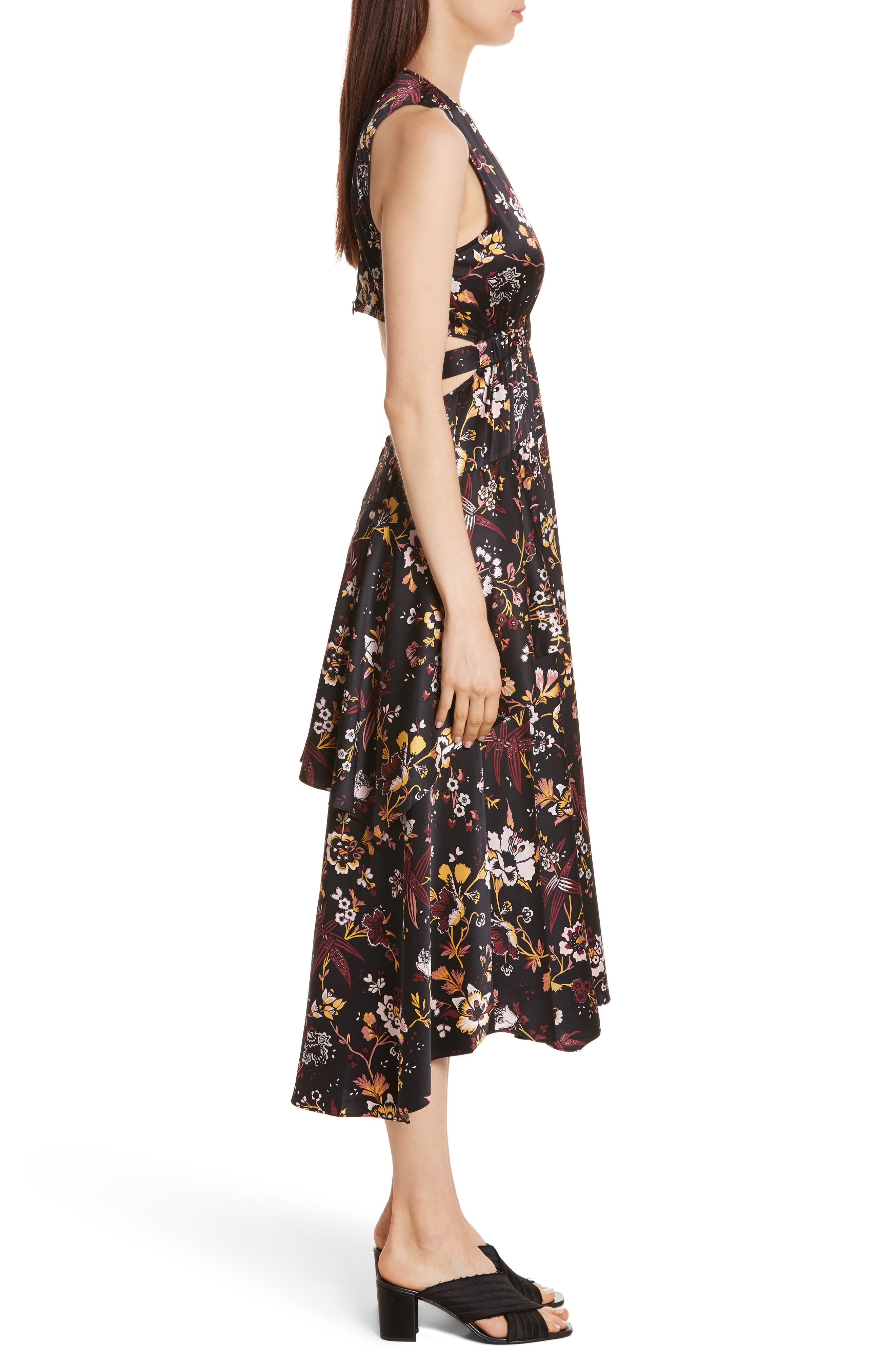 Verbena Floral Print Stretch Silk Dress,                             Alternate thumbnail 3, color,                             Black/ Grey/ Mustard
