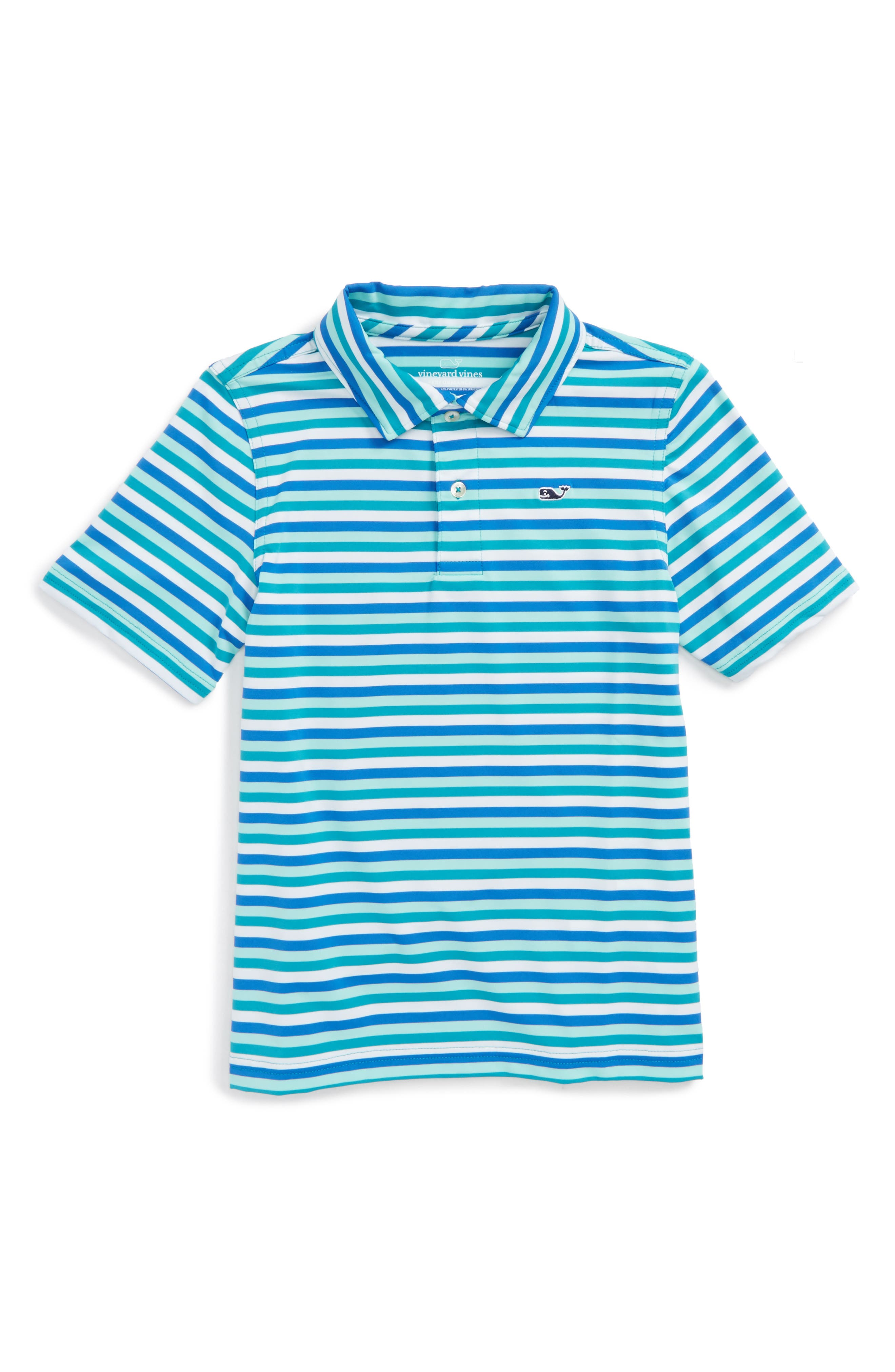 Feeder Stripe Performance Polo,                         Main,                         color, Turquois Sea