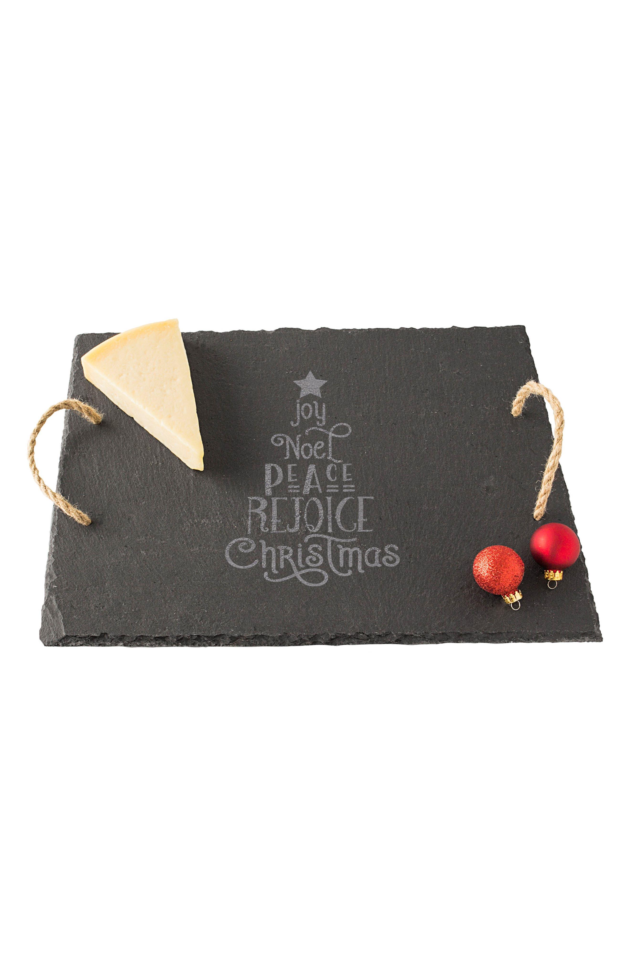 Christmas Tree Slate Serving Board,                             Main thumbnail 1, color,                             Black