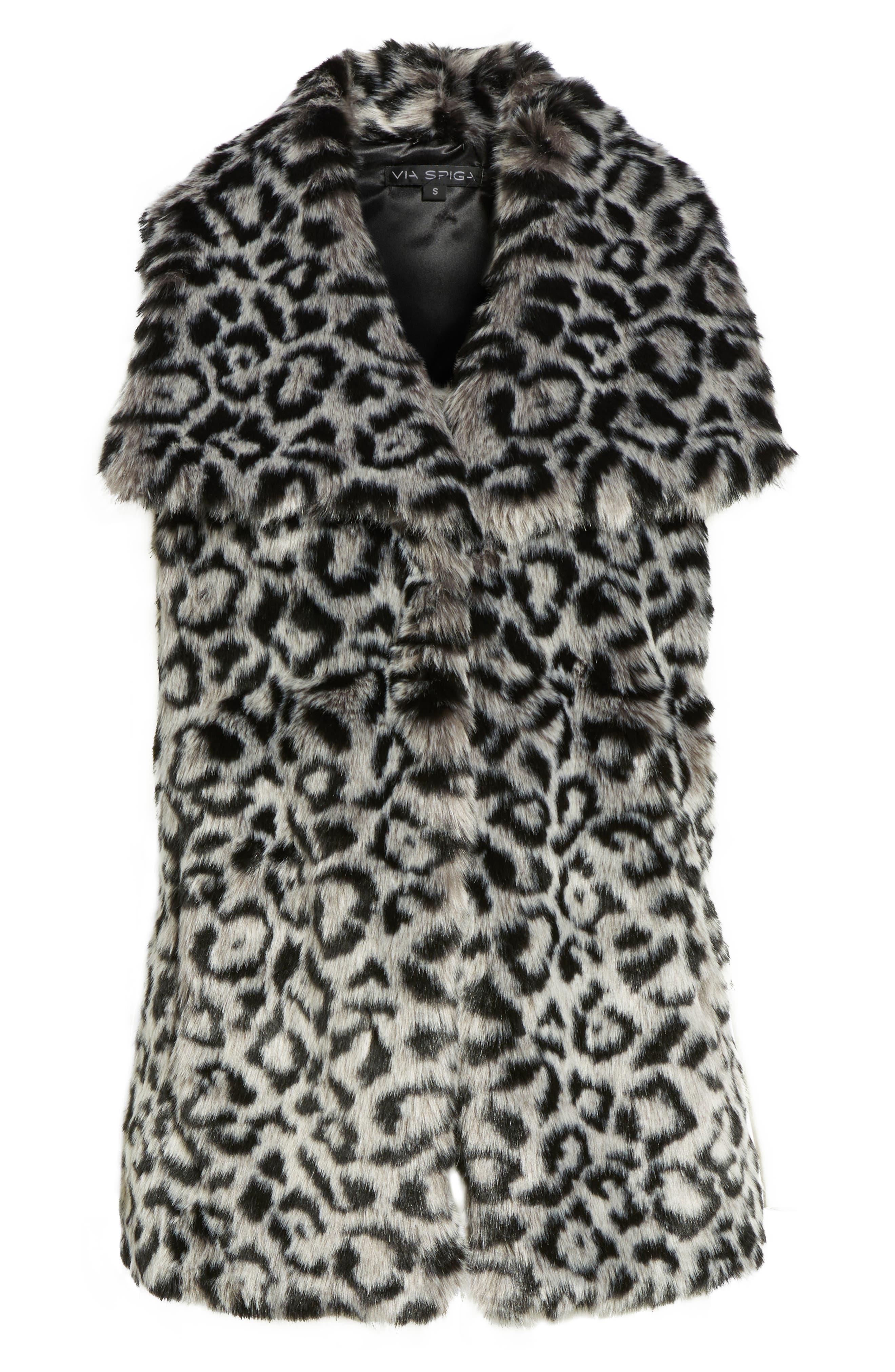 Faux Fur Vest,                             Alternate thumbnail 6, color,                             Snow Leopard
