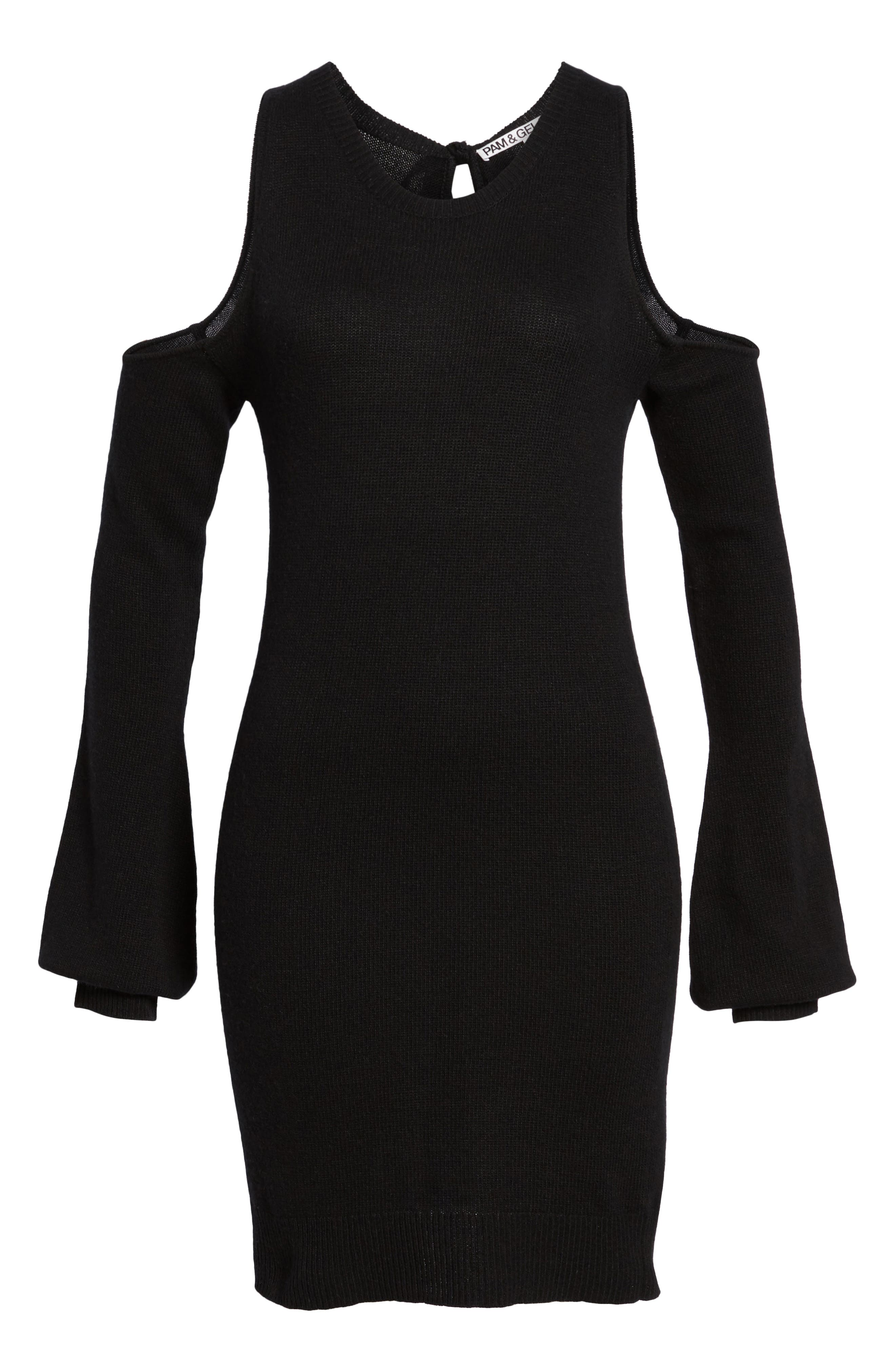 Cold Shoulder Sweater Dress,                             Alternate thumbnail 6, color,                             Black