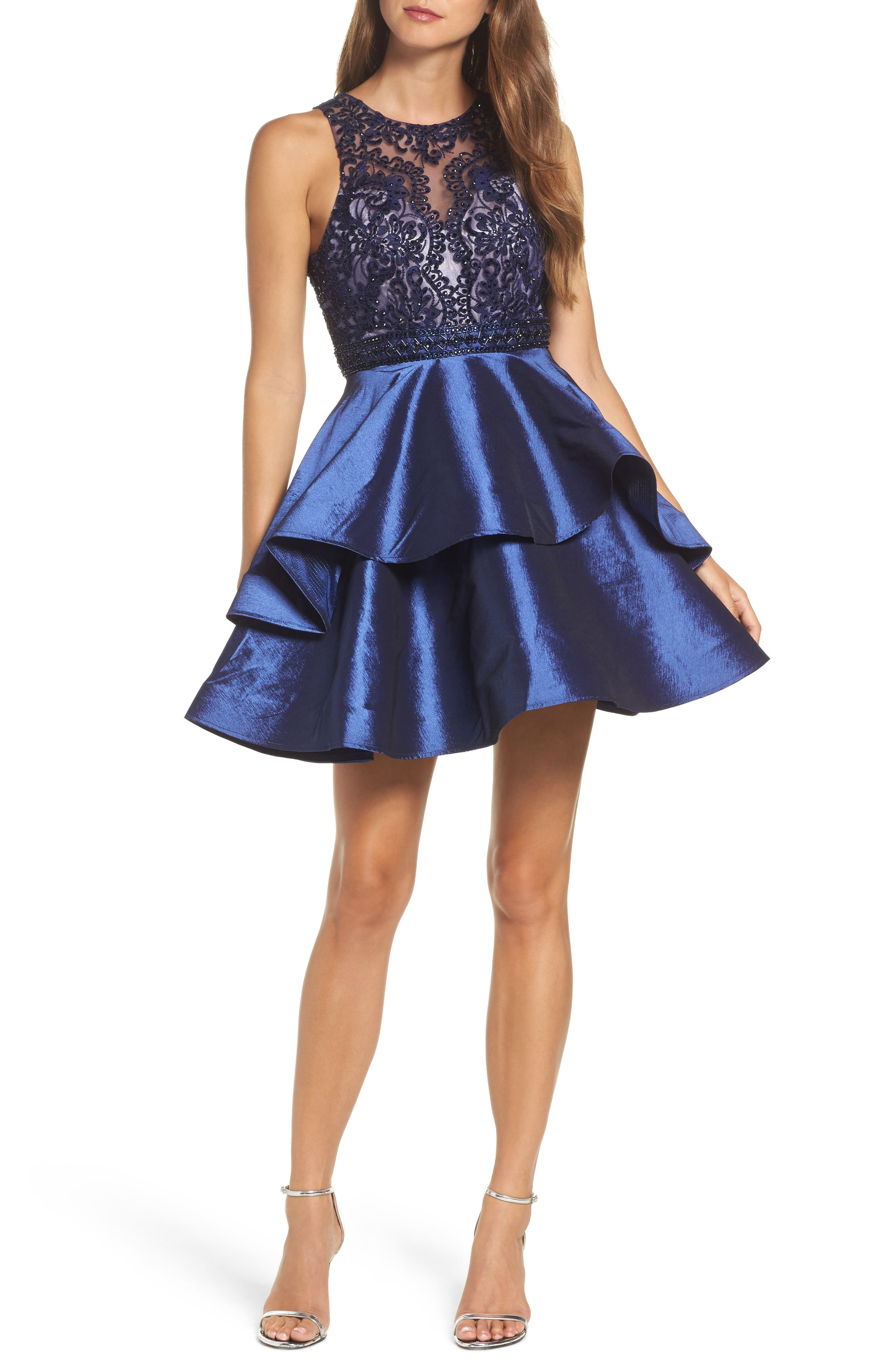 Lace Bodice Tiered Mikado Fit & Flare Dress,                         Main,                         color, Navy