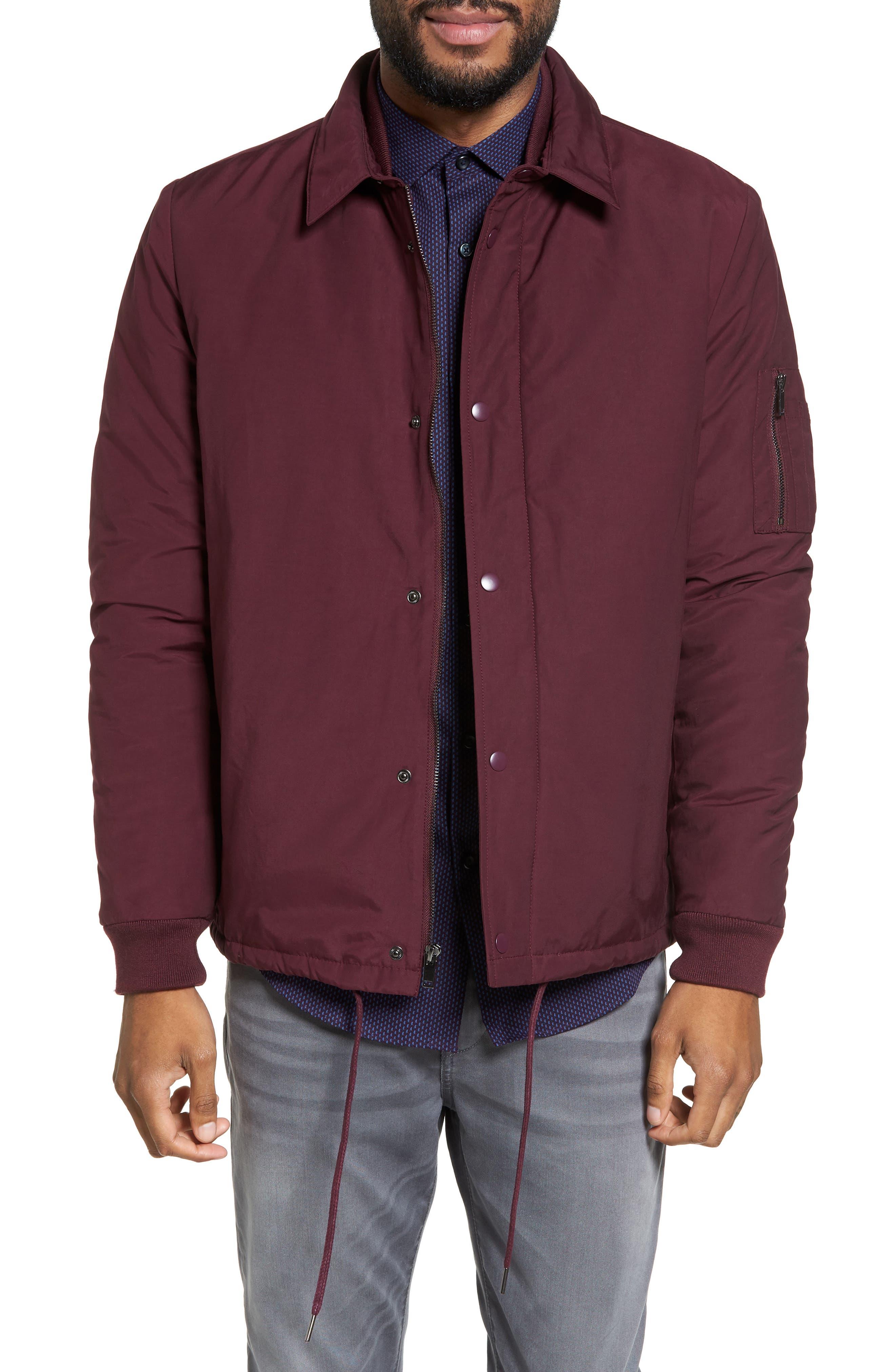 Collared Bomber Jacket,                         Main,                         color, Burgundy Stem