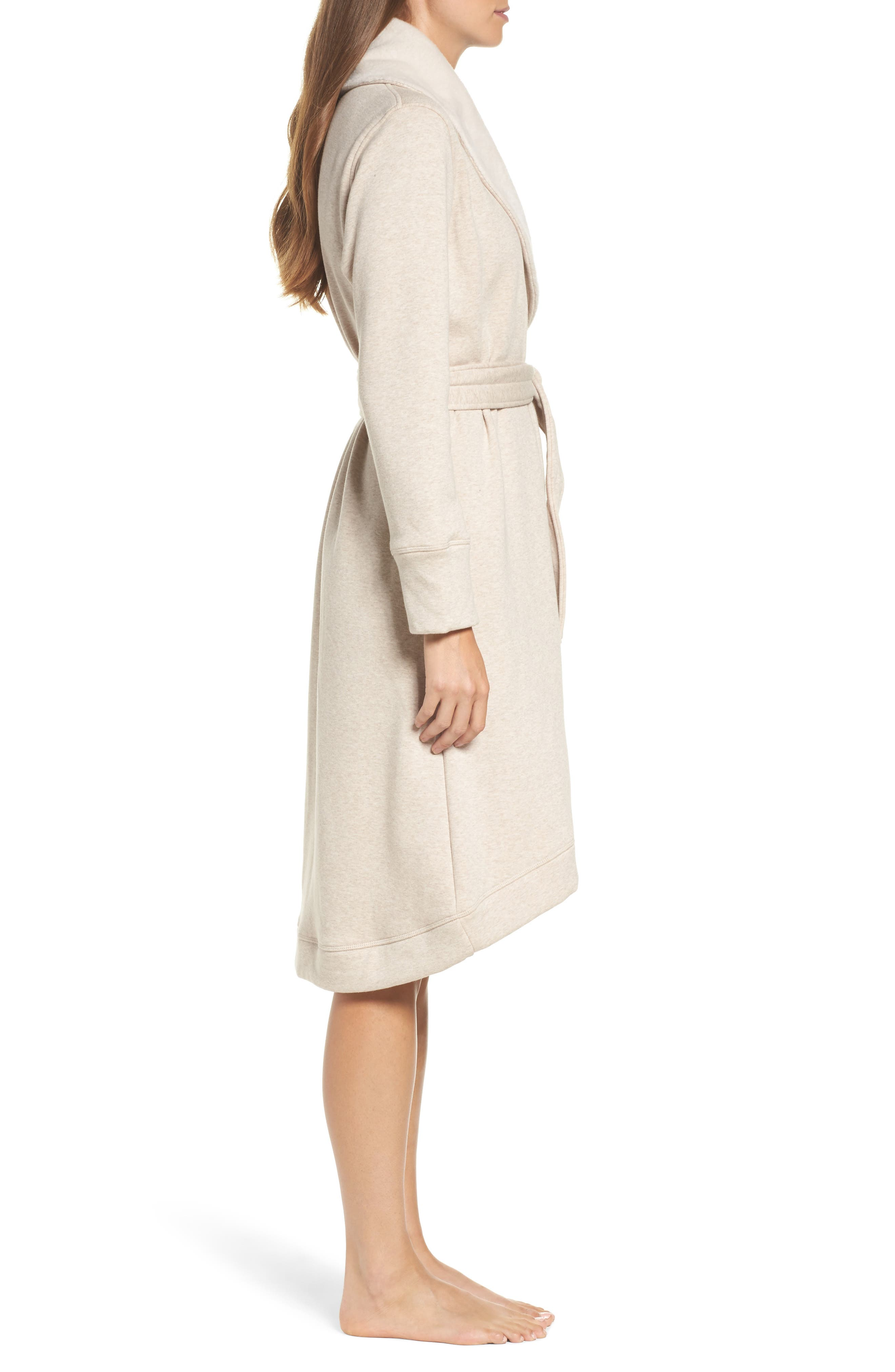 Duffield Double Knit Robe,                             Alternate thumbnail 3, color,                             Oatmeal Heather