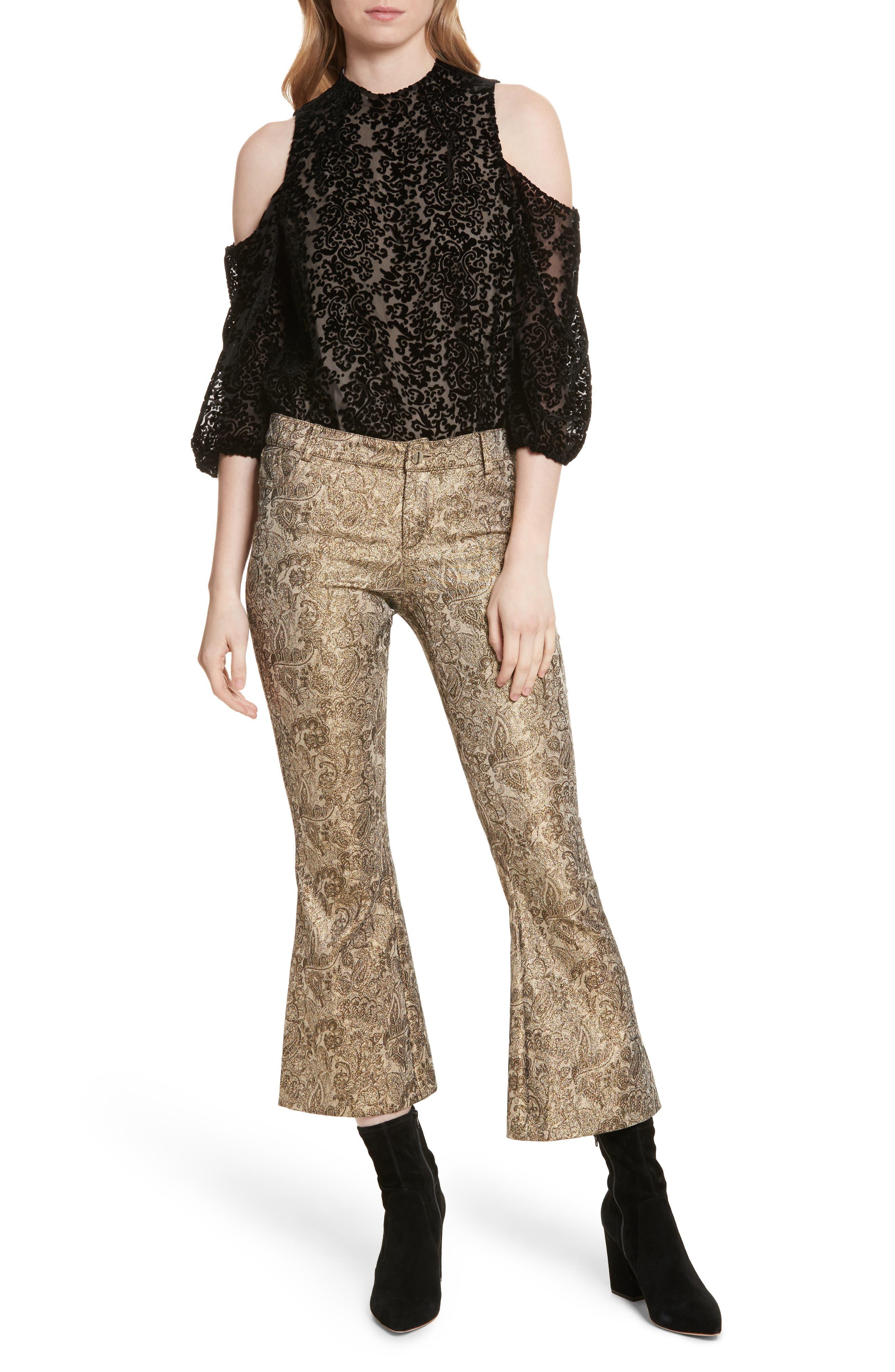 Alternate Image 6  - Alice + Olivia Drew Metallic Crop Bell Pants