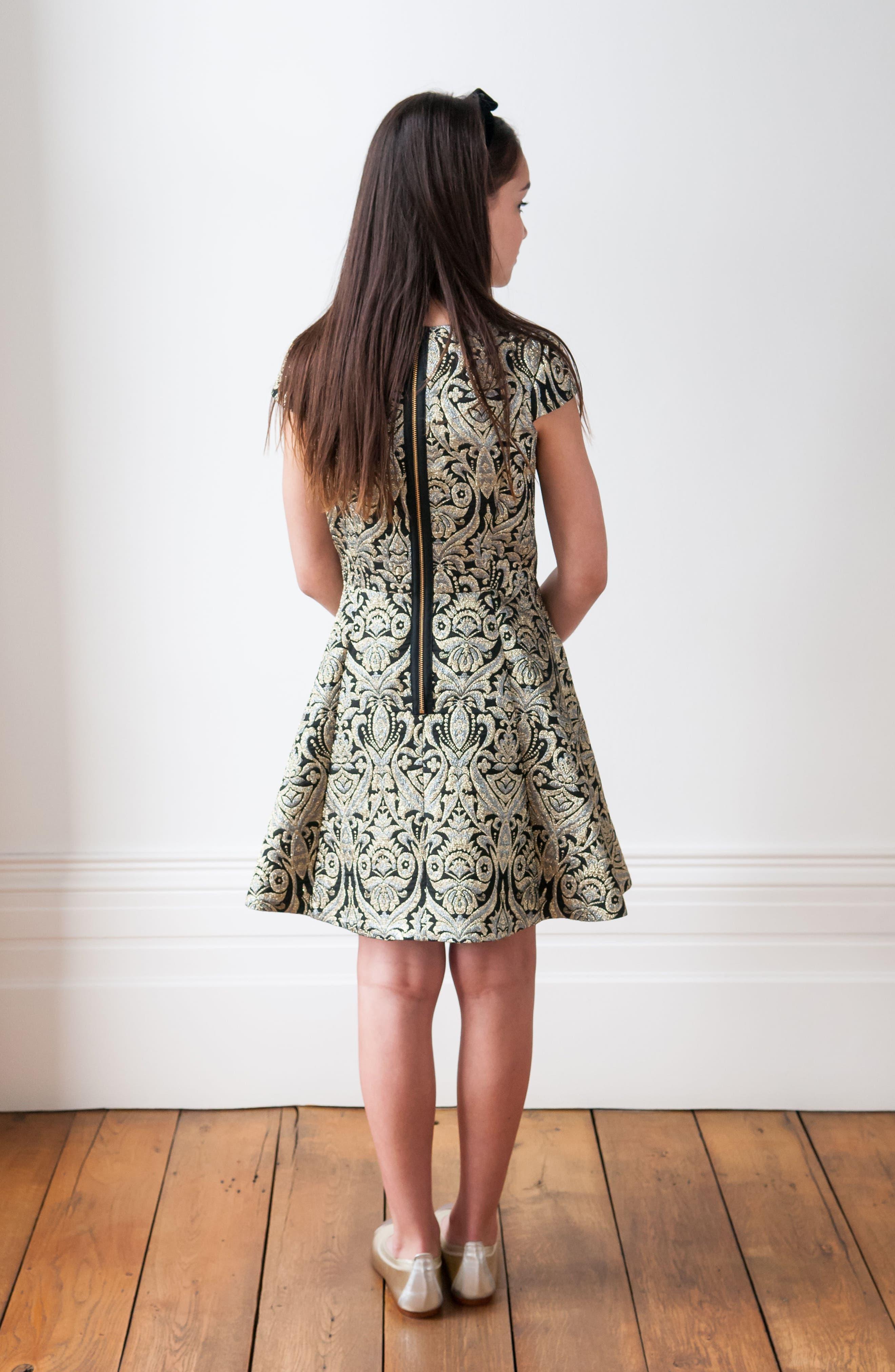 Alternate Image 3  - David Charles Cap Sleeve Brocade Dress (Big Girls)
