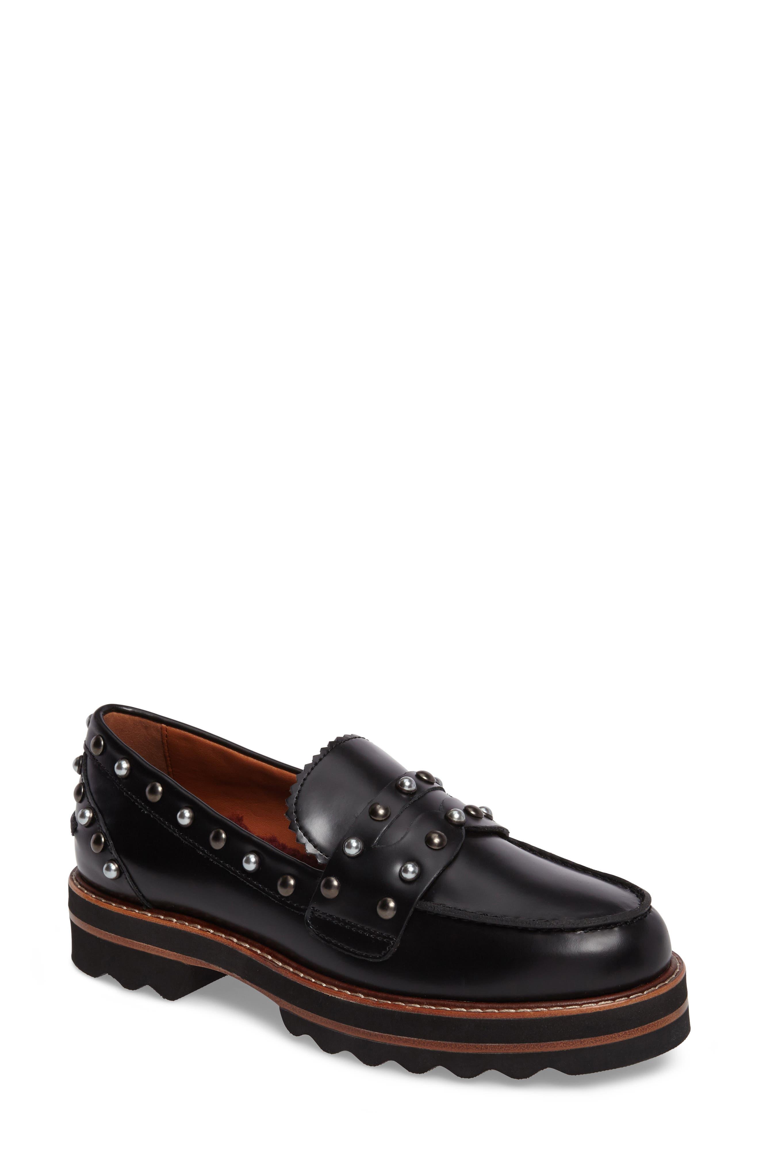 Lenox Loafer,                             Main thumbnail 1, color,                             Black Leather