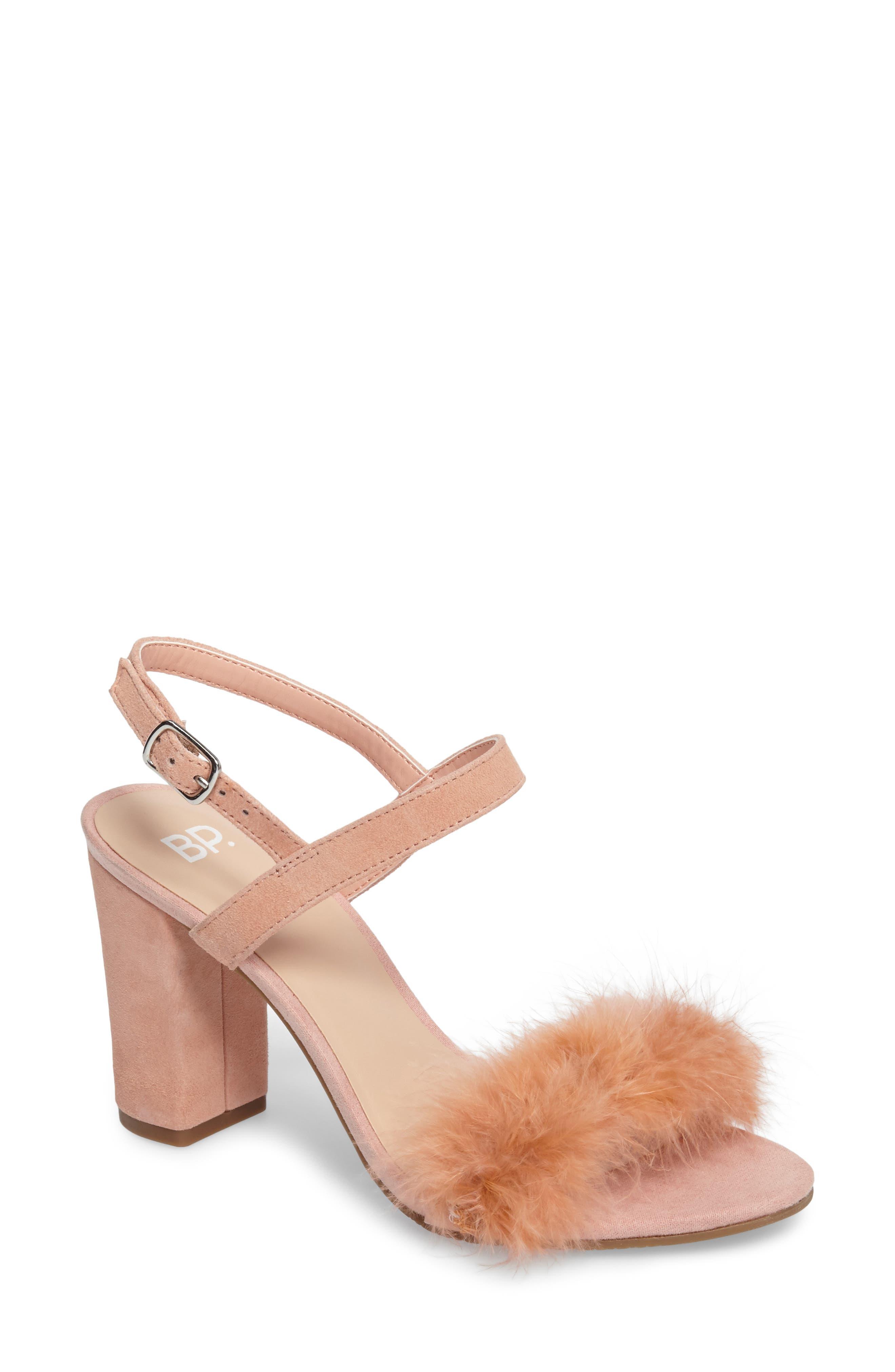 Lula Block Heel Slingback Sandal,                         Main,                         color, Blush Feathers