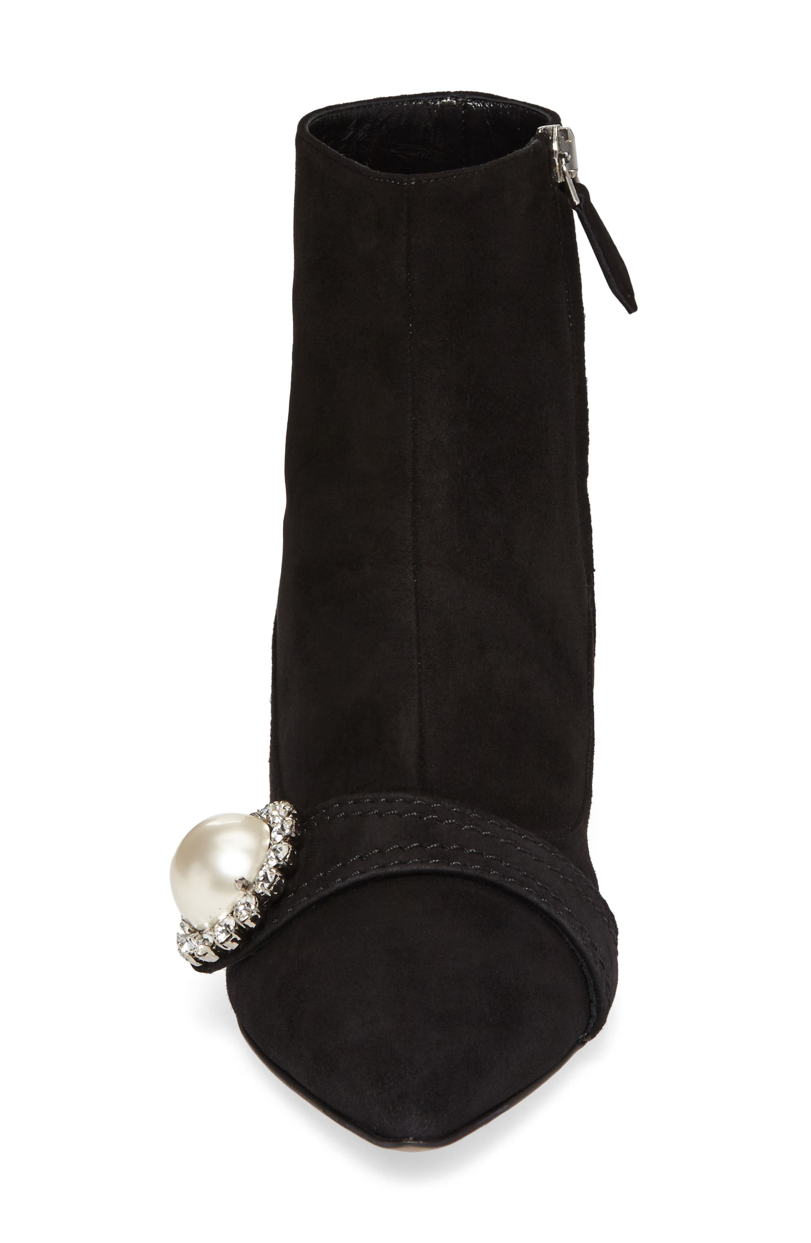 Embellished Pointy Toe Bootie,                             Alternate thumbnail 4, color,                             Black