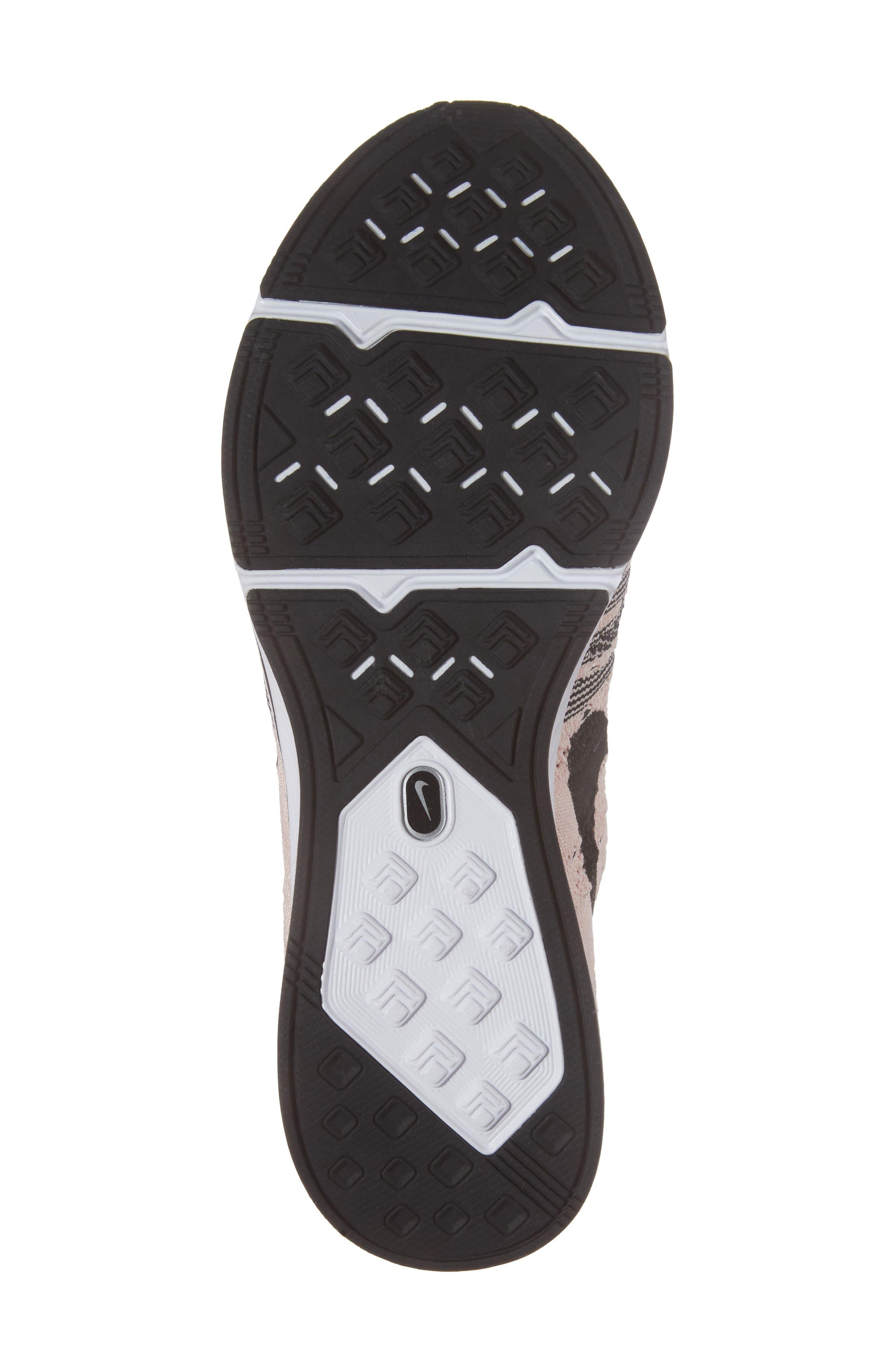 NikeLab Flyknit Trainer Sneaker,                             Alternate thumbnail 5, color,                             Sunset Tint/Black-White