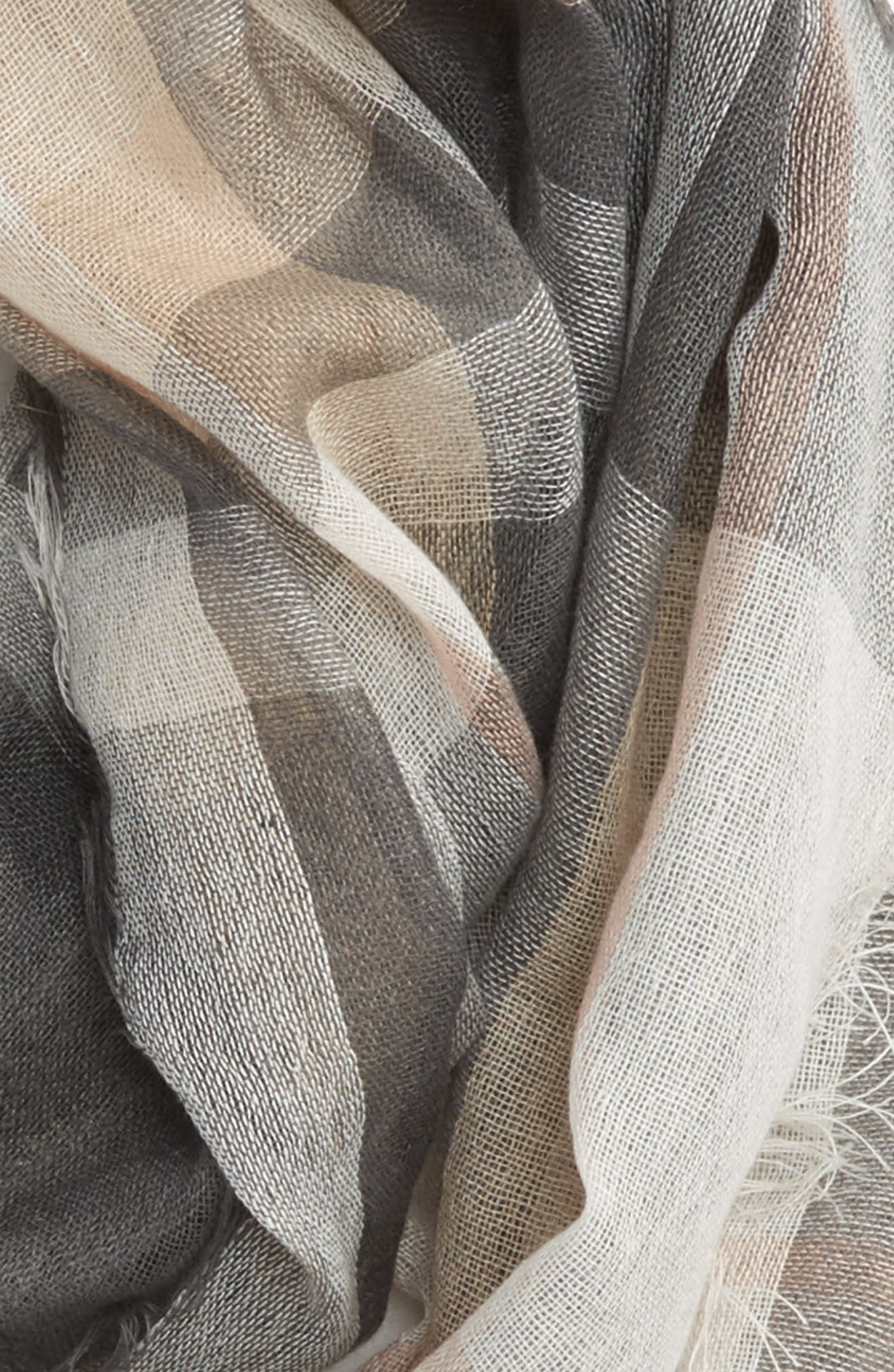 Plaid Infinity Scarf,                             Alternate thumbnail 3, color,                             Grey Multi