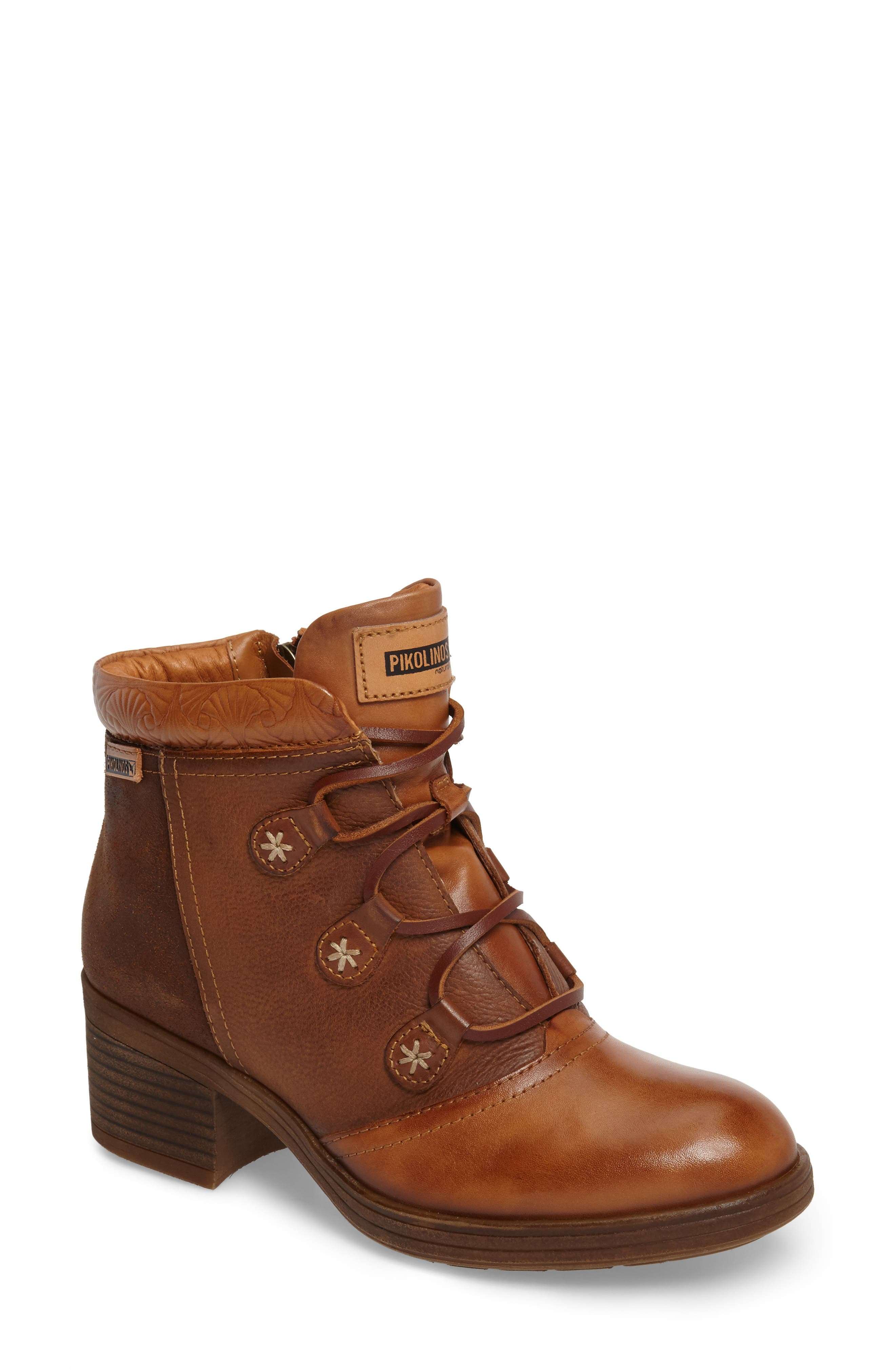 Lyon Lace-Up Boot,                             Main thumbnail 1, color,                             Brandy Leather