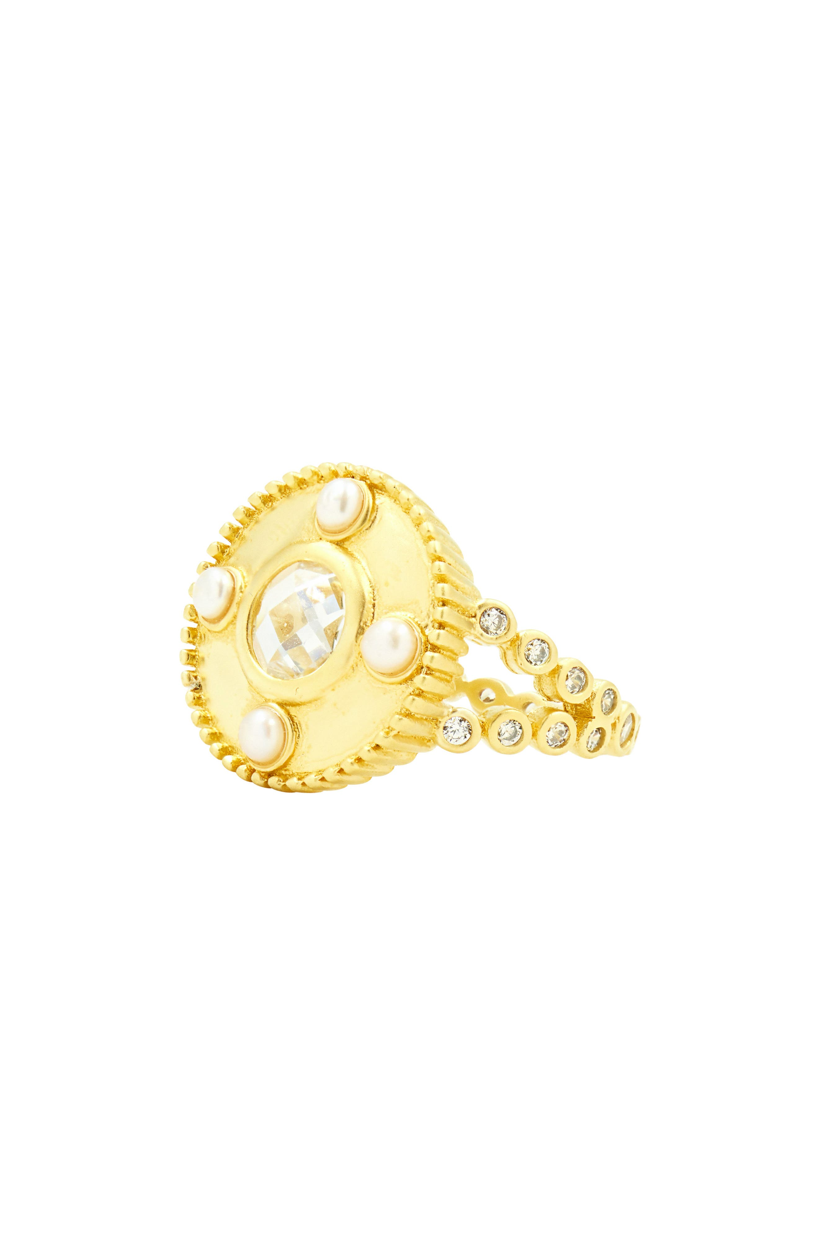 Audrey Studded Cocktail Ring,                             Alternate thumbnail 6, color,                             Gold/ Clear