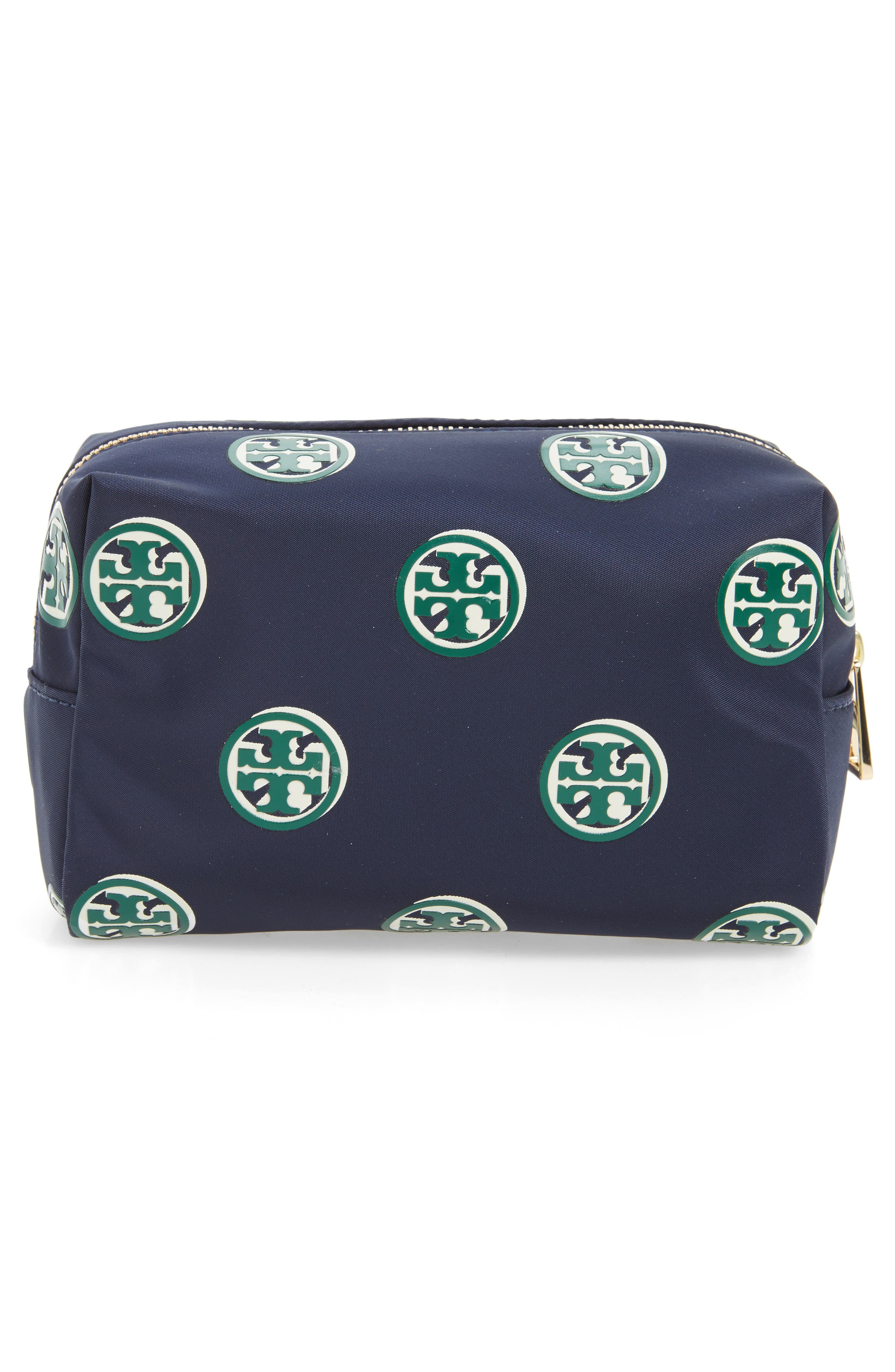 Quinn Printed Brigitte Cosmetics Case,                             Alternate thumbnail 2, color,                             Geo Print Navy