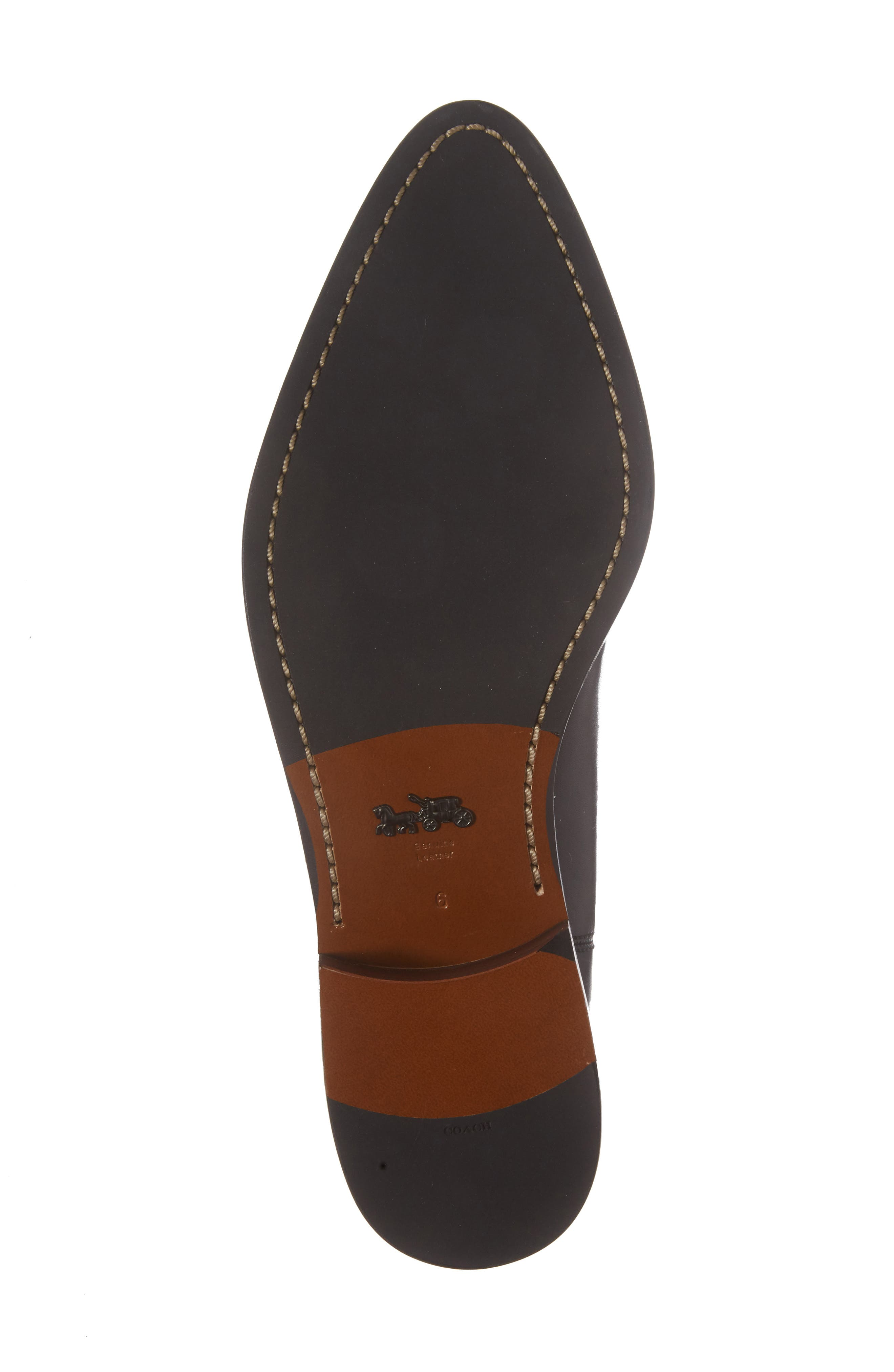 Bowery Embroidered Chelsea Bootie,                             Alternate thumbnail 6, color,                             Black Leather