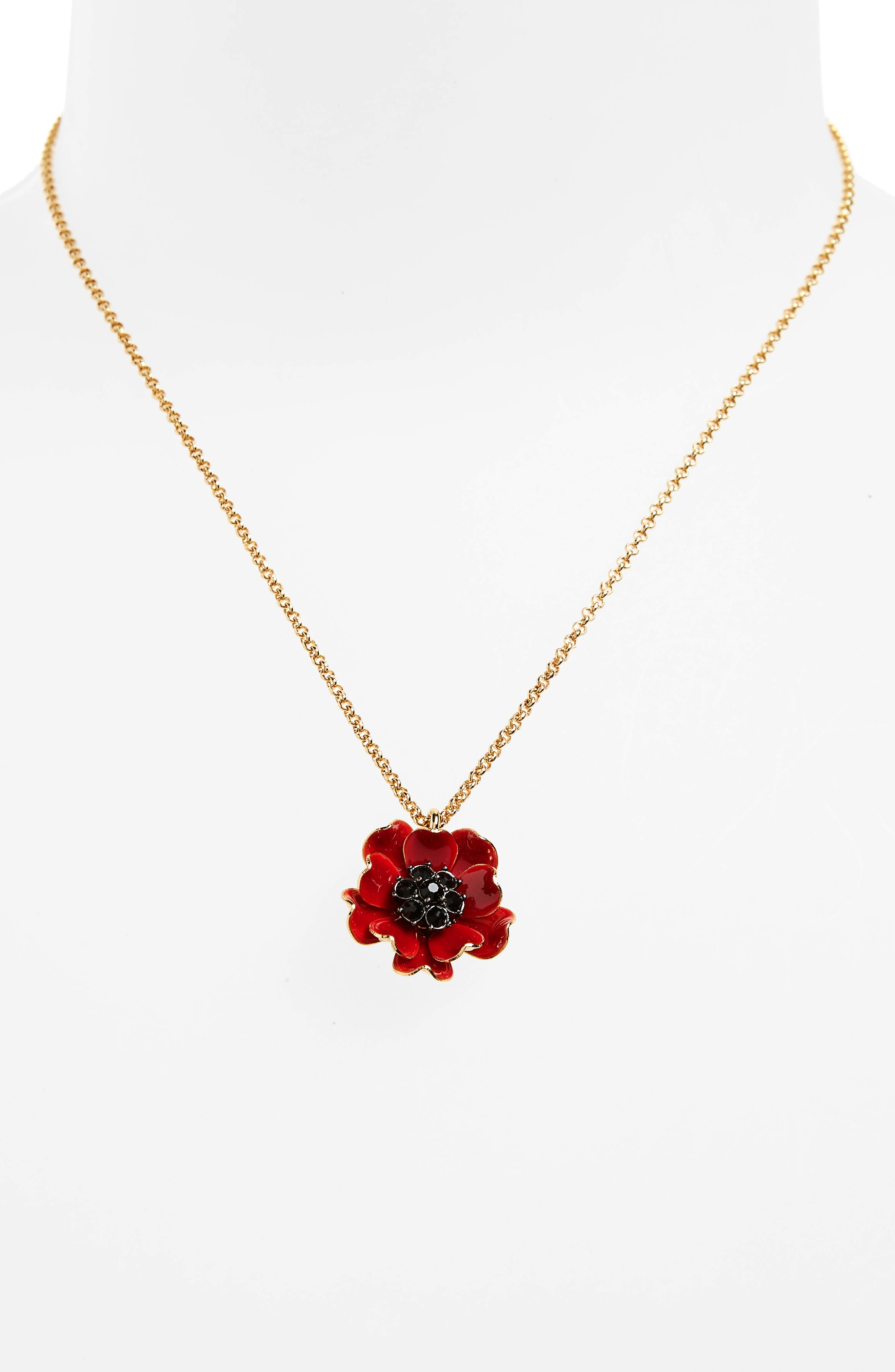 precious poppies pendant necklace,                             Alternate thumbnail 2, color,                             Red Multi