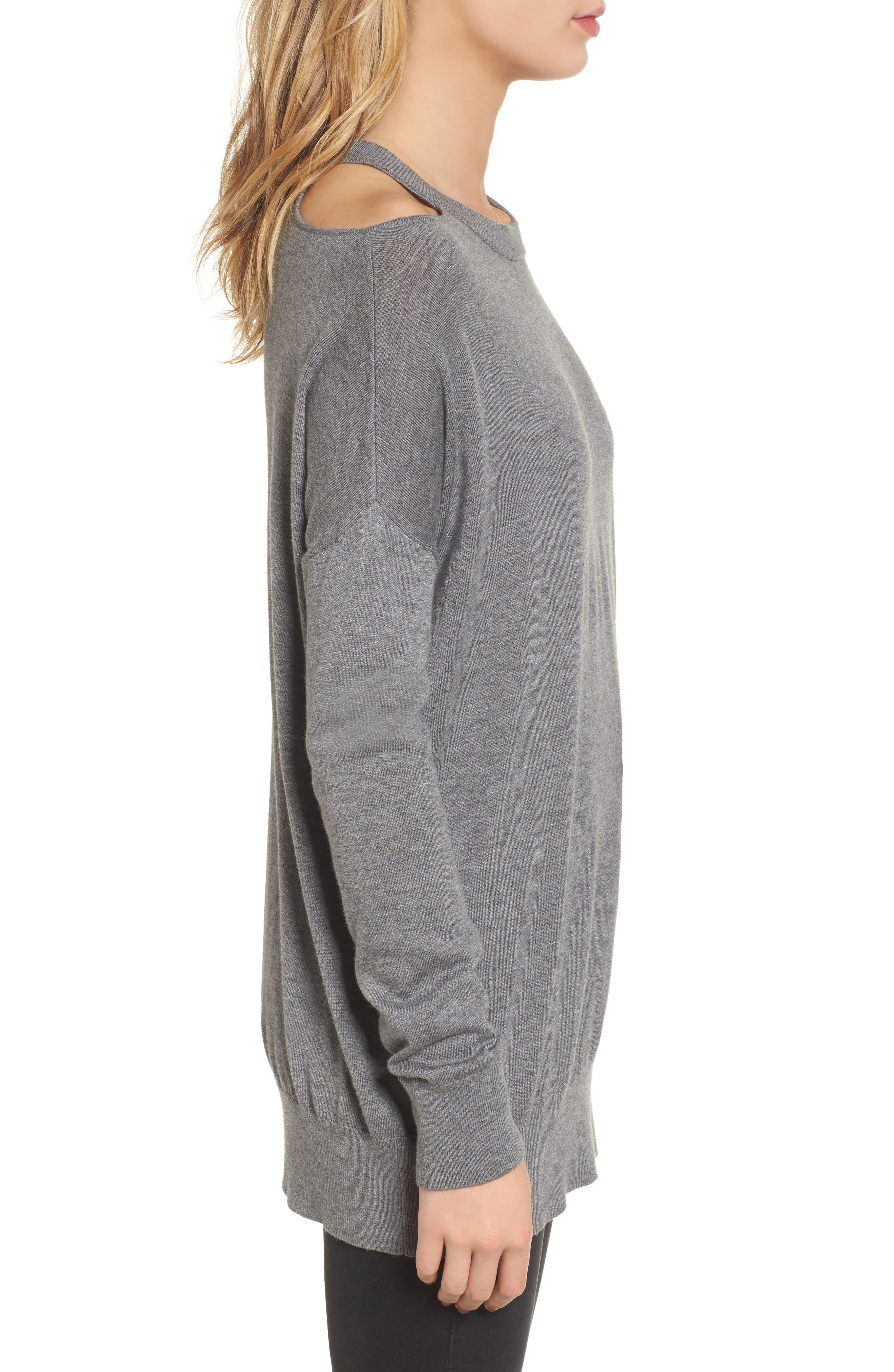 Canarise Cutout Sweater,                             Alternate thumbnail 3, color,                             Heather Cinder