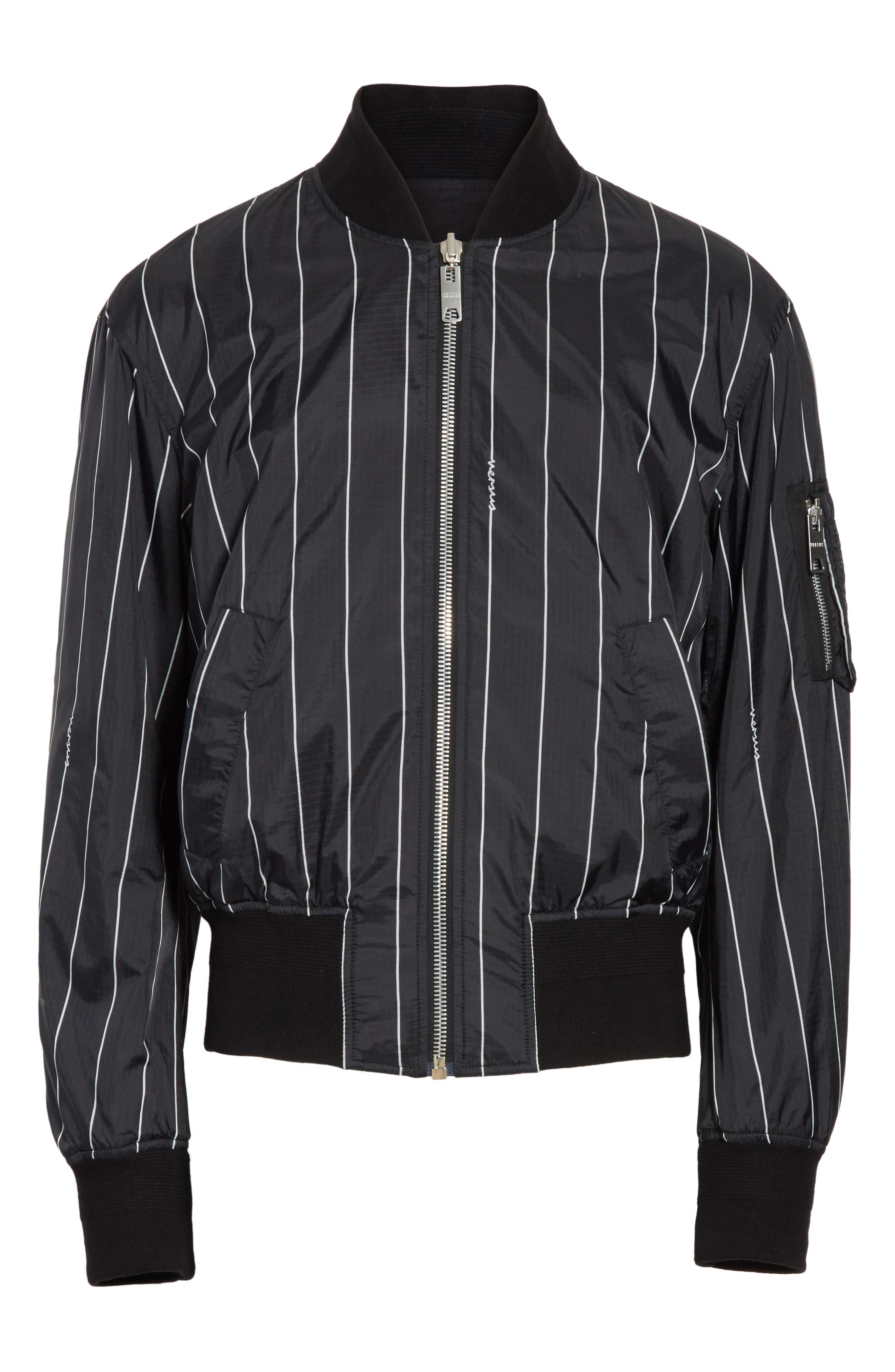 VERSUS by Versace Reversible Pinstripe Bomber Jacket,                             Alternate thumbnail 6, color,                             Black