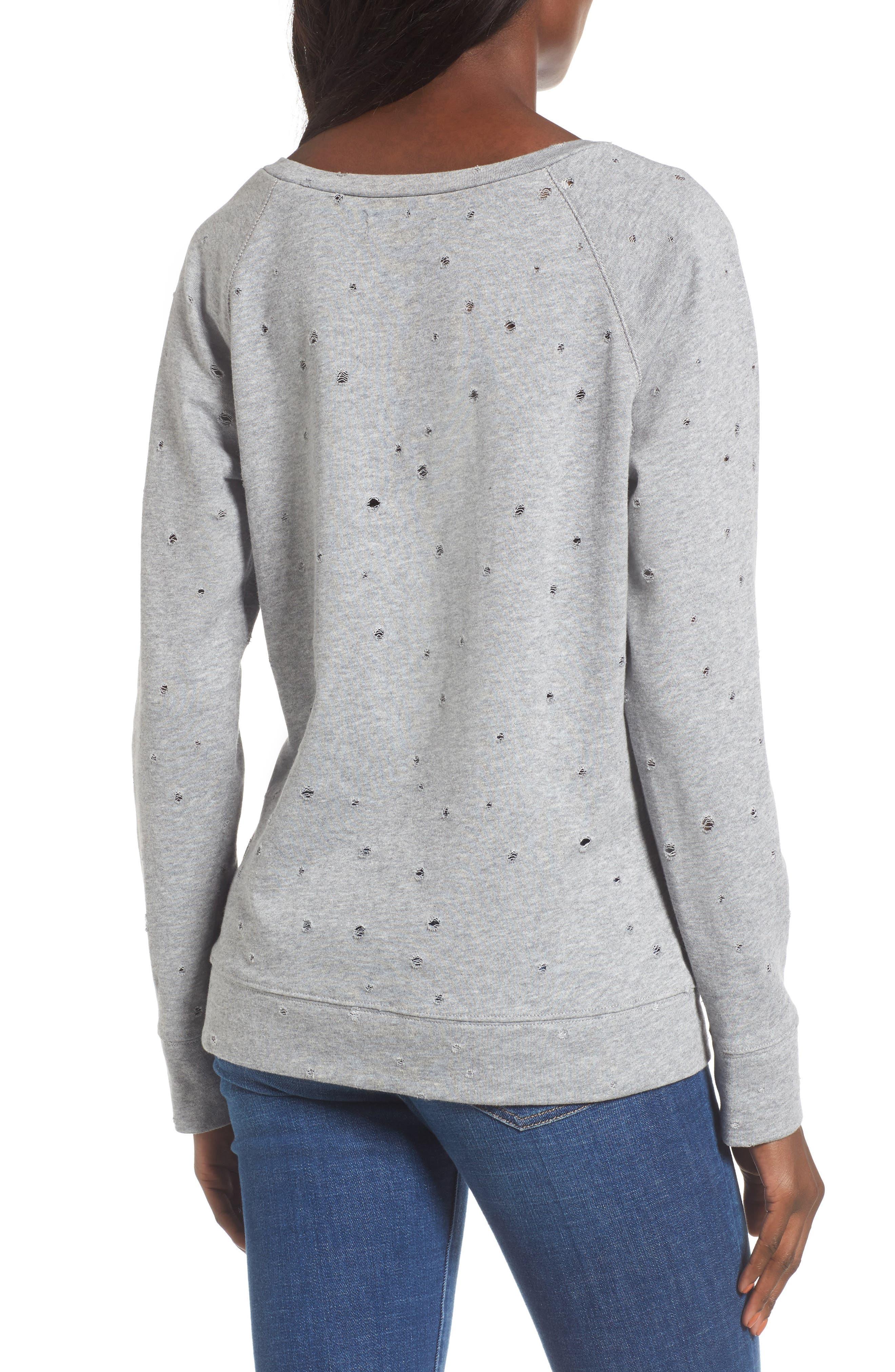 Alternate Image 2  - Love, Fire Holey Sweatshirt