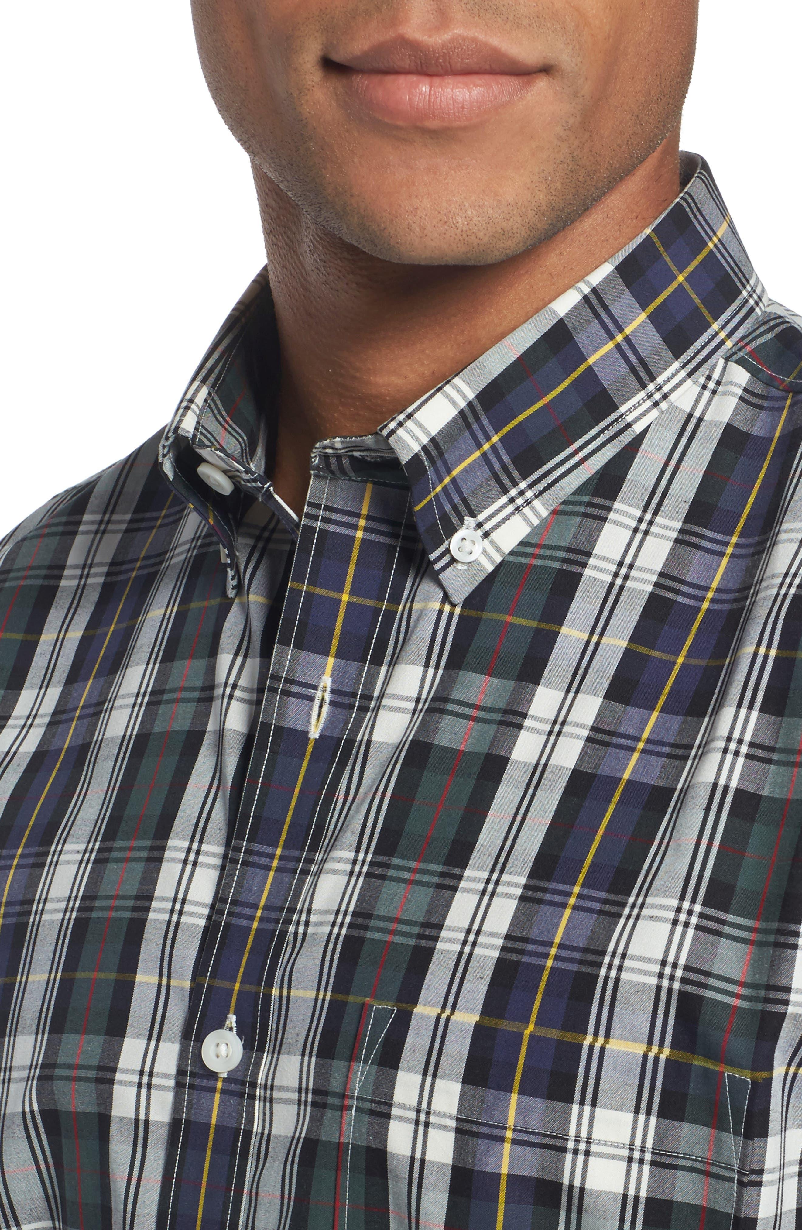 Trim Fit Non-Iron Plaid Sport Shirt,                             Alternate thumbnail 4, color,                             Ivory Egret Green Tartan