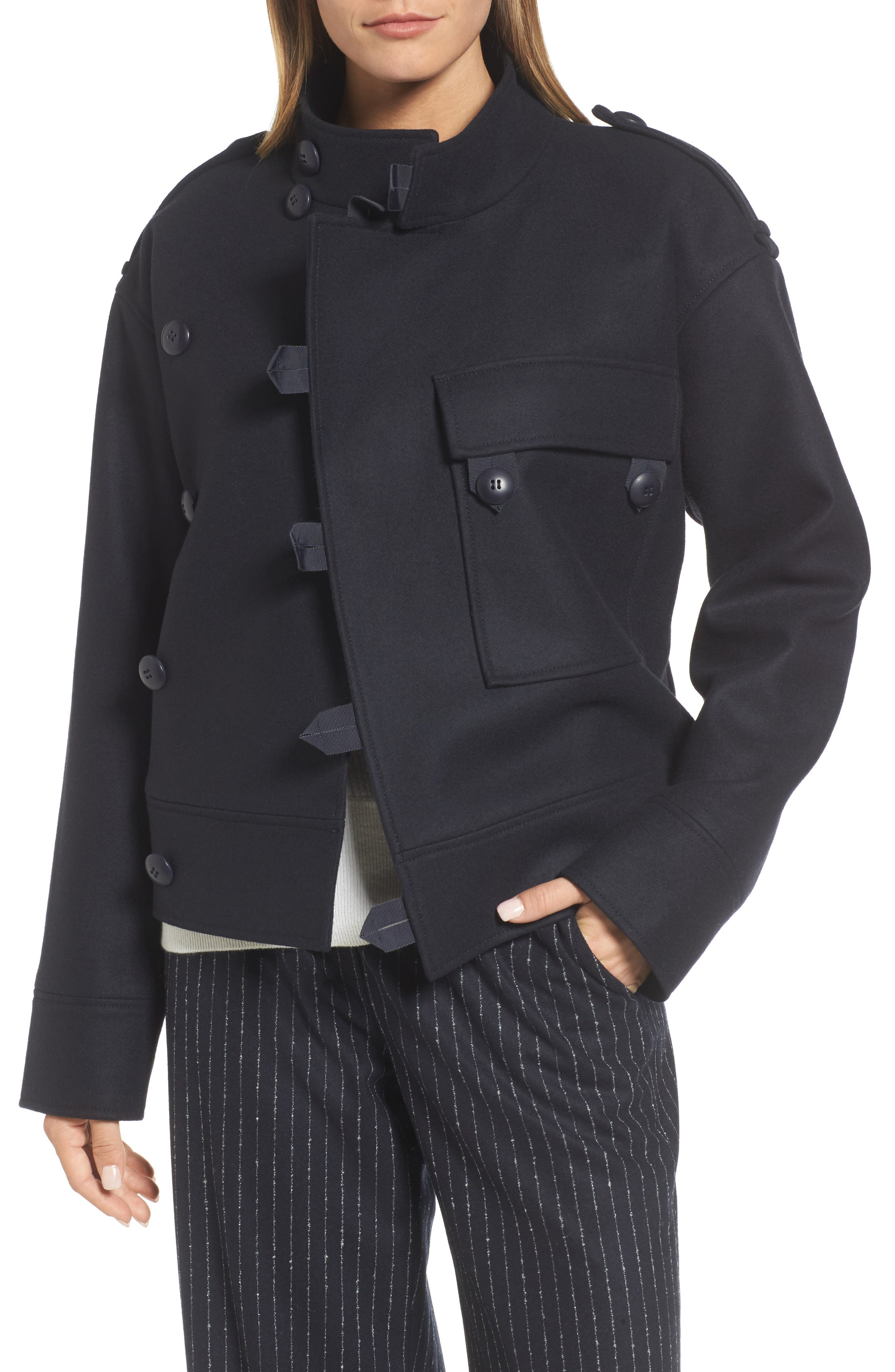 Wool Sculpted Jacket,                         Main,                         color, Navy Night