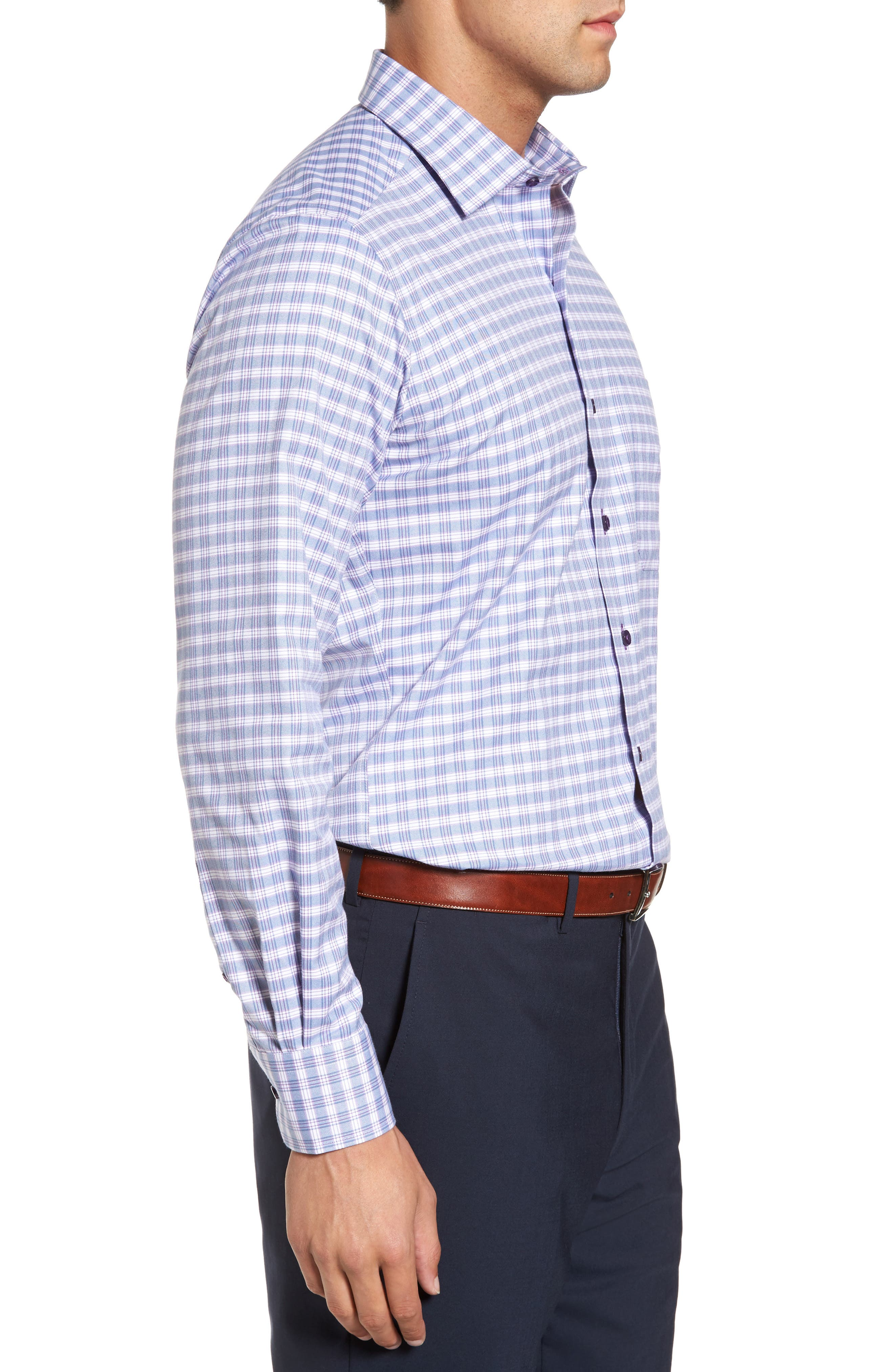 Check Regular Fit Sport Shirt,                             Alternate thumbnail 3, color,                             Blue/ Purple