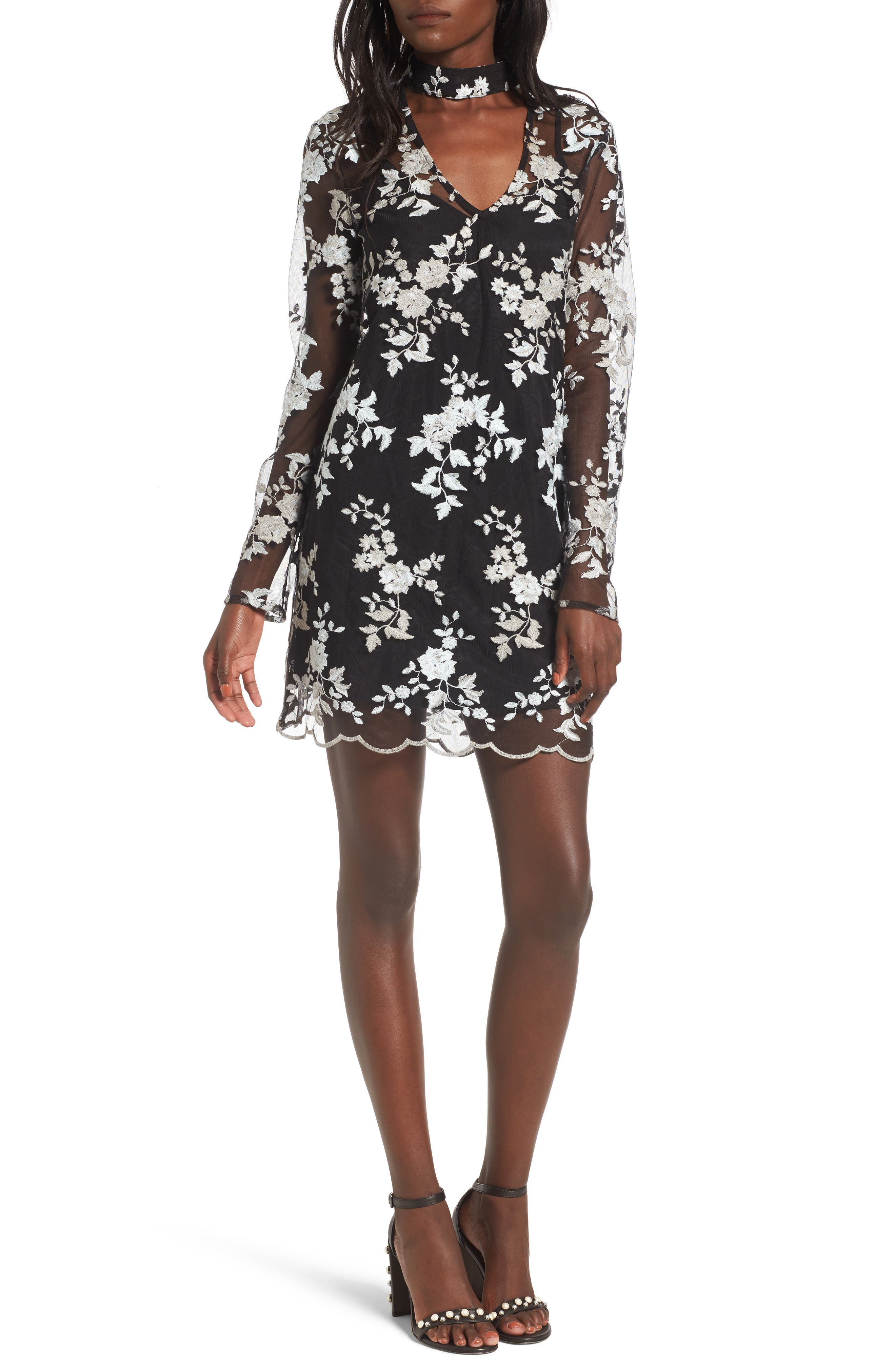 Romy Choker Mesh Minidress,                         Main,                         color, Black/ Sage Embroidery