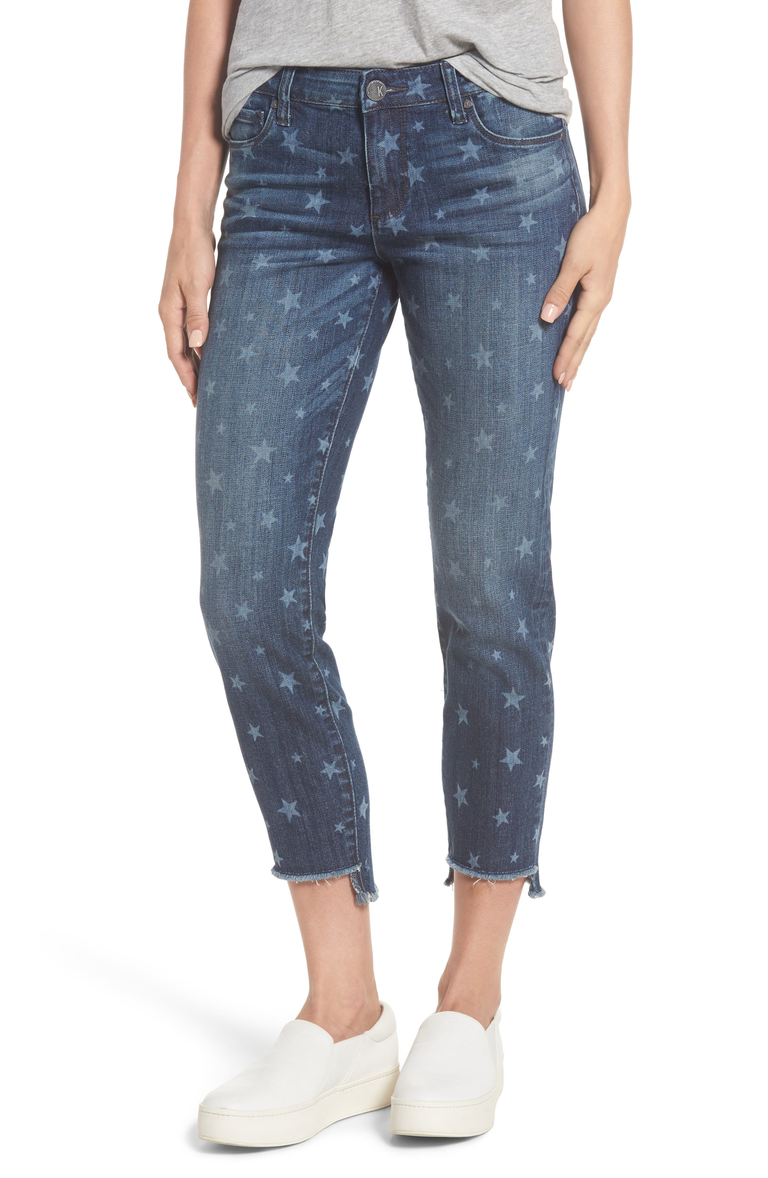 KUT from the Kloth Reese Uneven Hem Ankle Straight Jeans