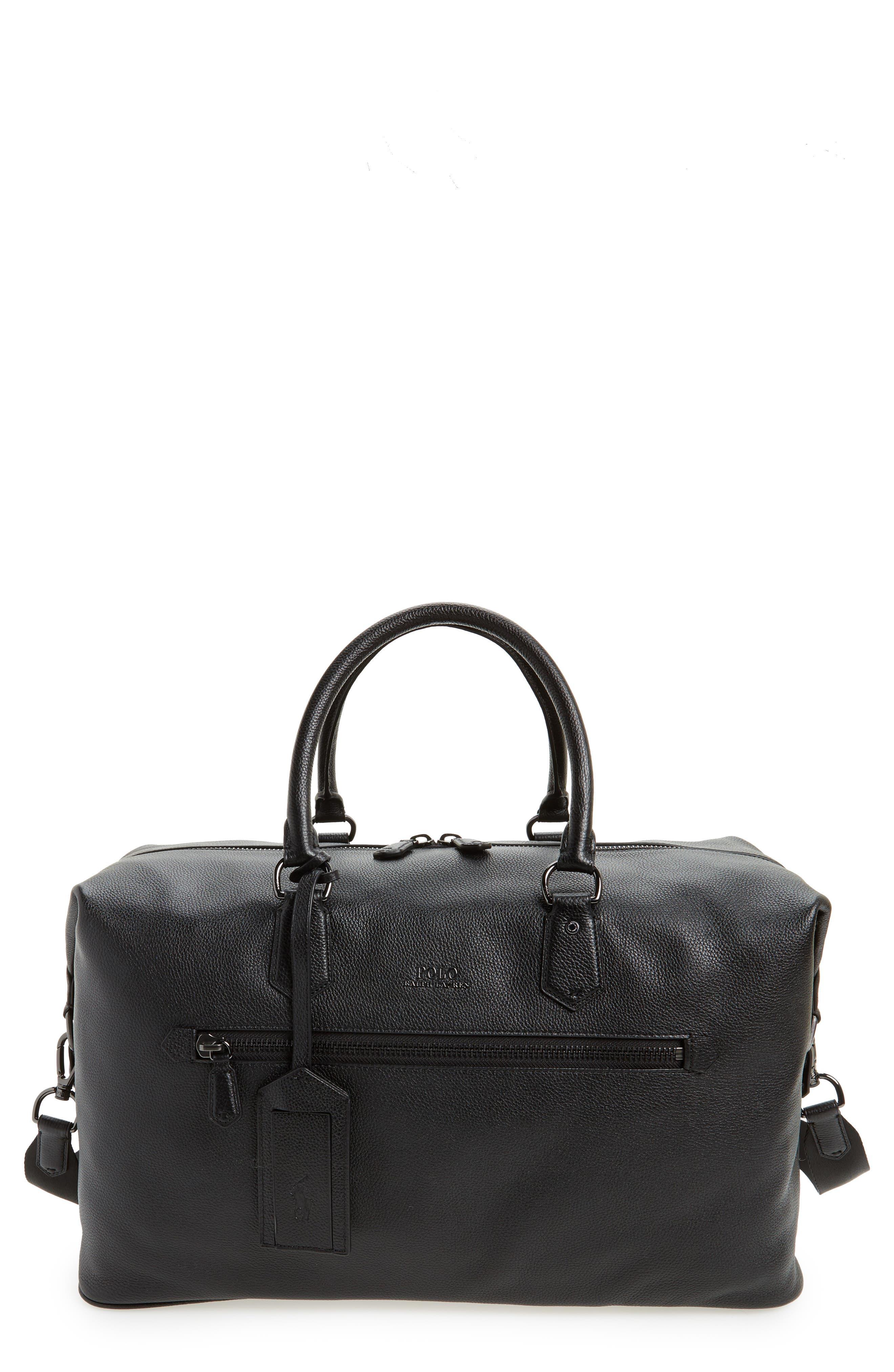 Main Image - Polo Ralph Lauren Pebbled Leather Duffel Bag