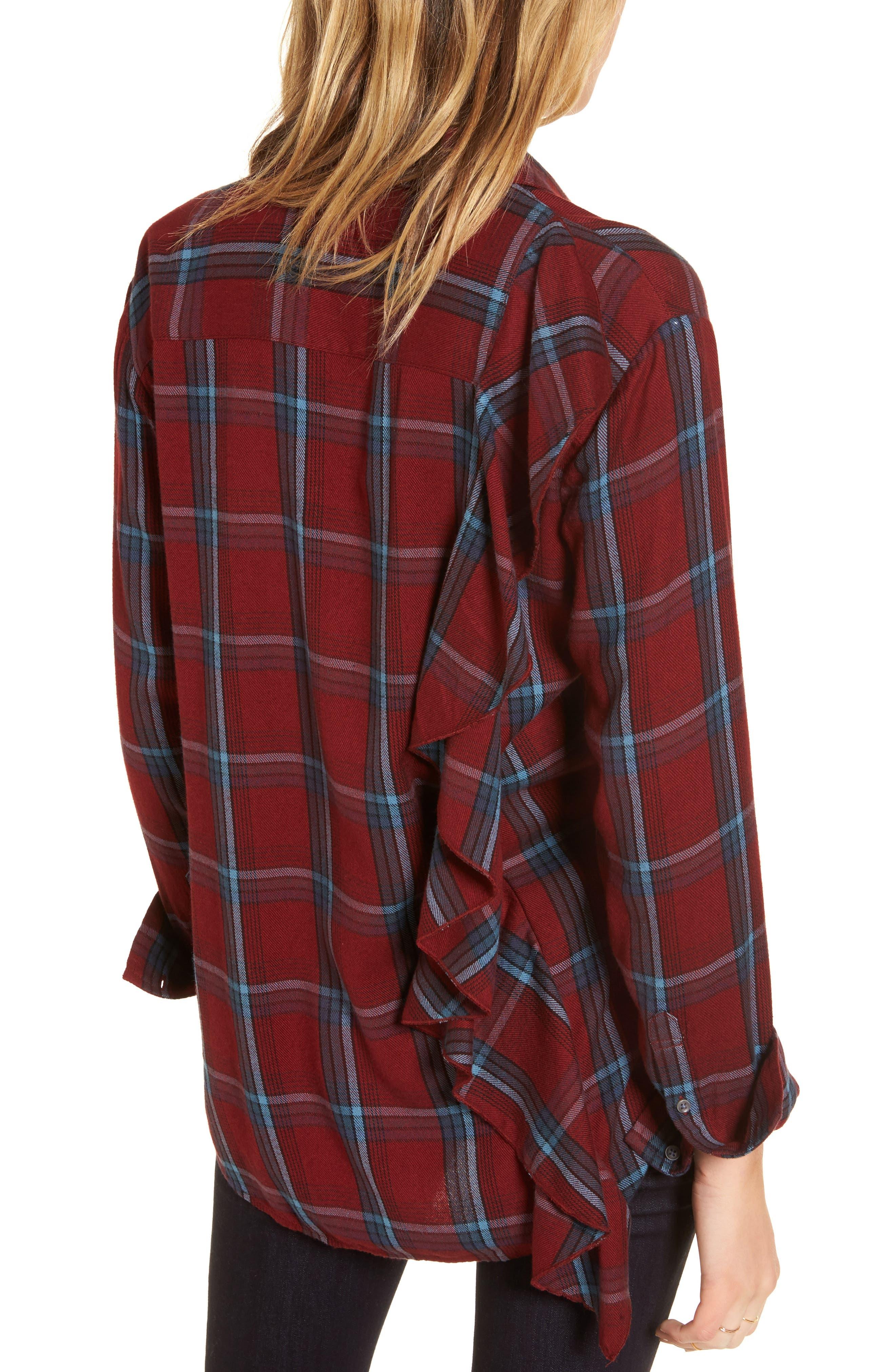 Ruffle Plaid Boyfriend Shirt,                             Alternate thumbnail 2, color,                             Red Syrah Three Box Tartan