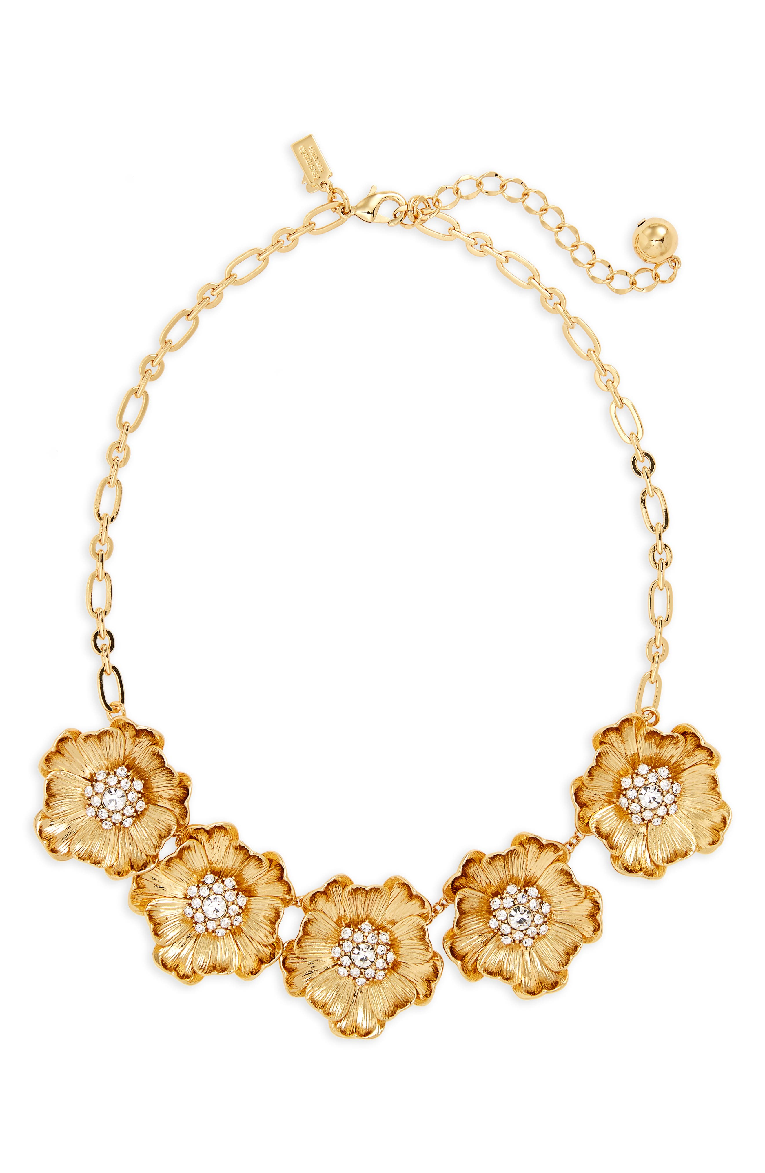 precious poppies frontal necklace,                         Main,                         color, Gold
