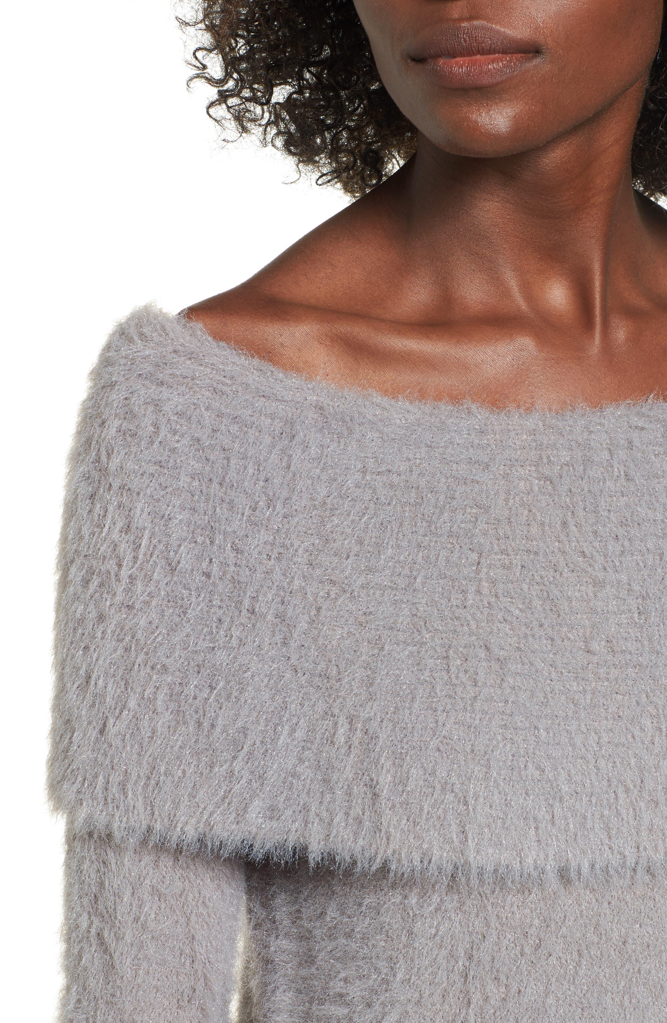 Off the Shoulder Sweater,                             Alternate thumbnail 4, color,                             Grey Cloudburst