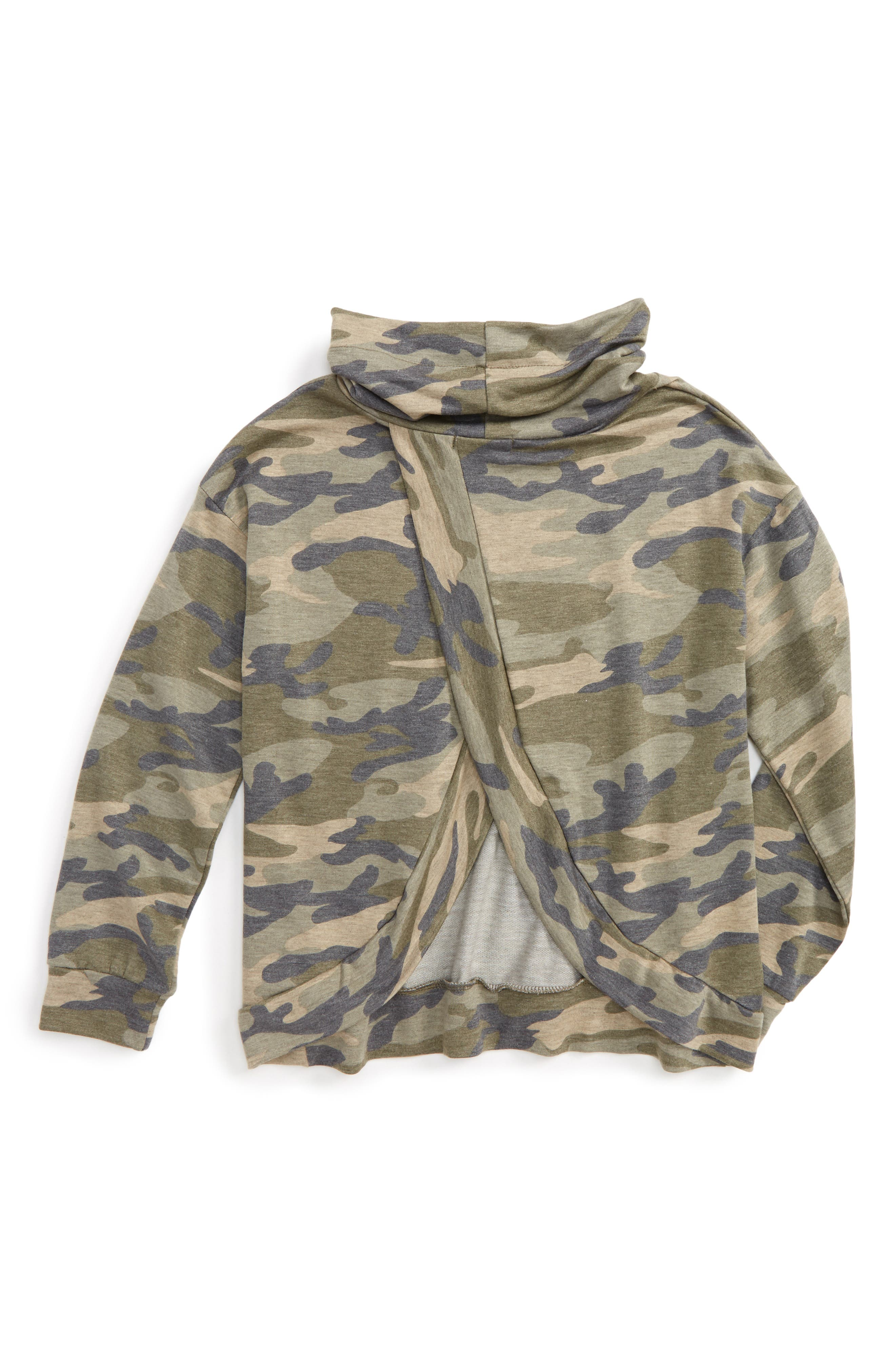 Camo Print Cowl Neck Sweatshirt,                             Alternate thumbnail 3, color,                             073 Military