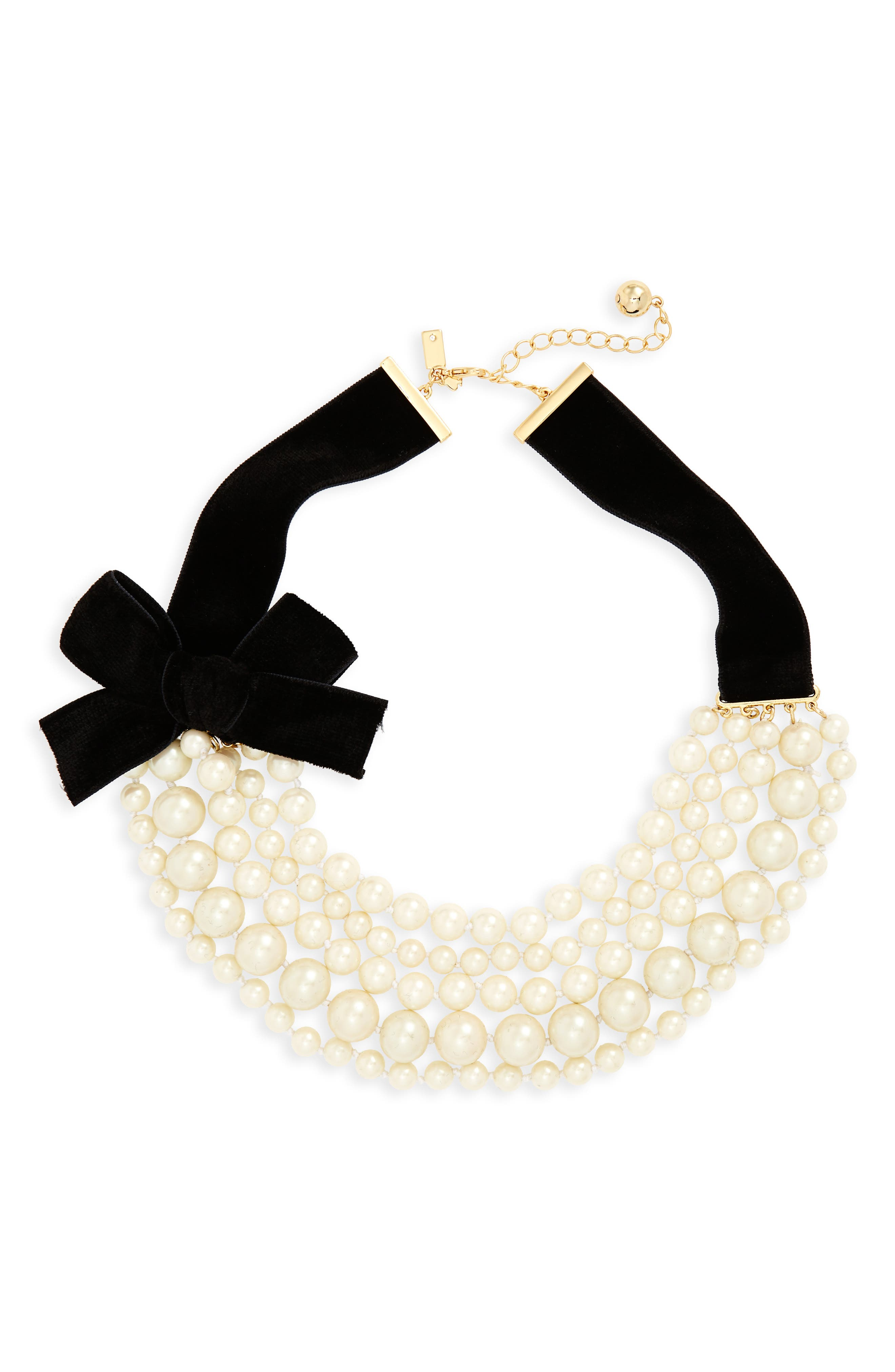 girls in pearls frontal necklace,                         Main,                         color, Cream Multi